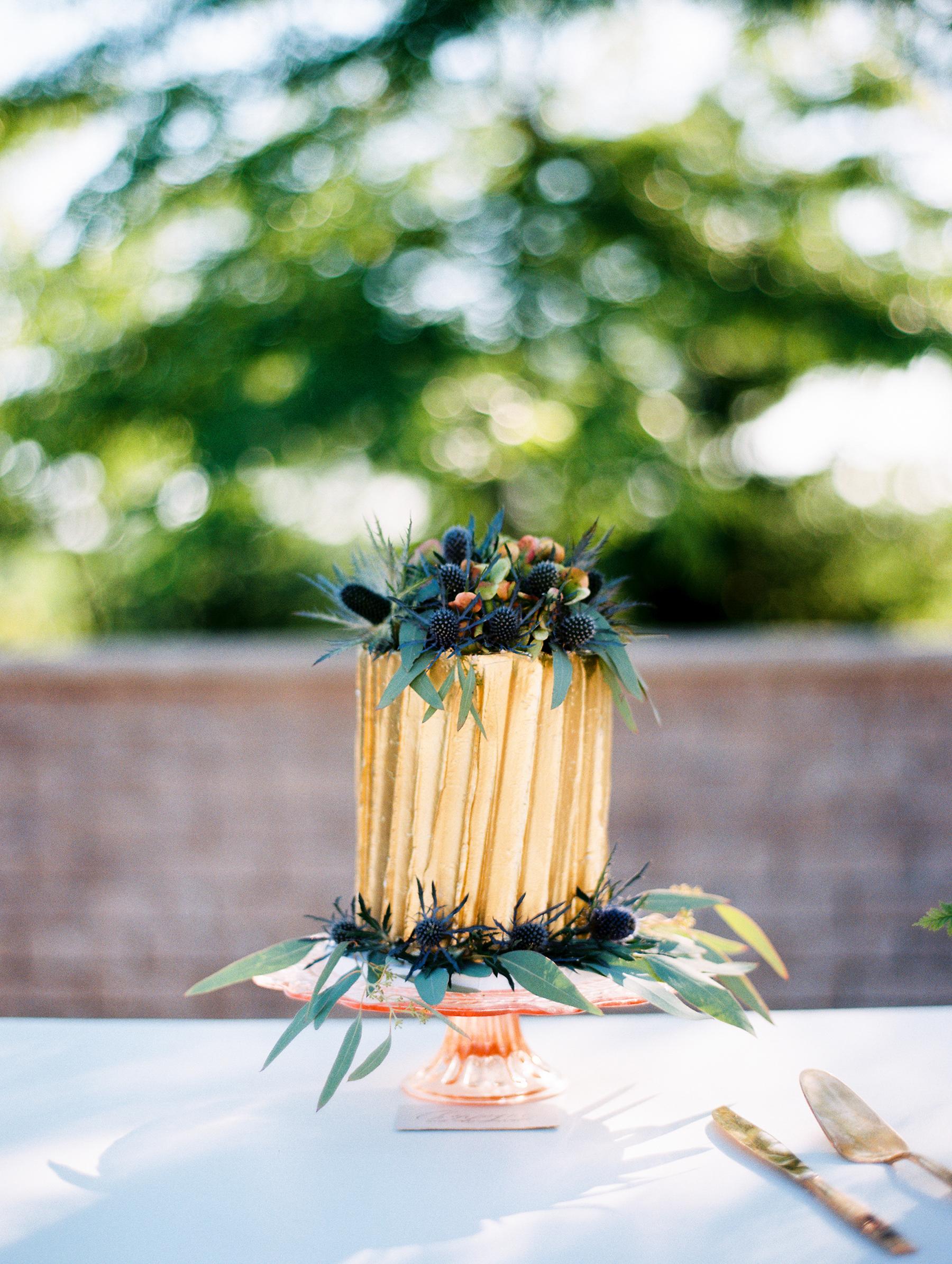 Small Gold Wedding Cake
