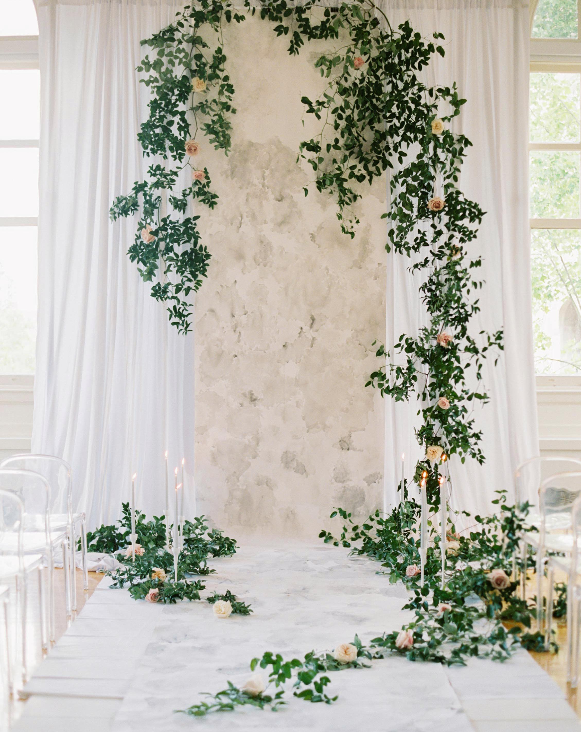 airy wedding backdrop drapery painted runner greenery