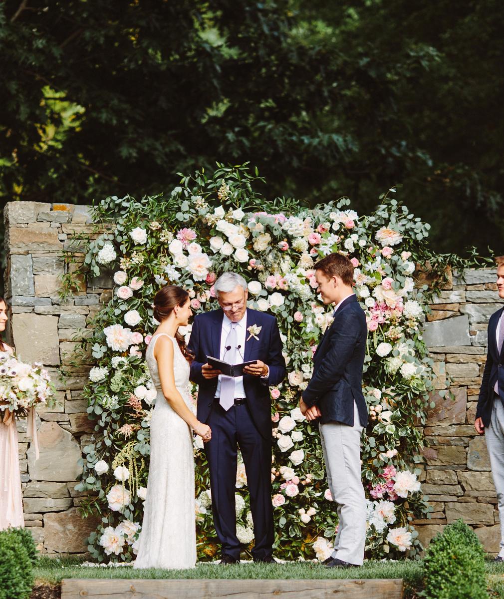 wedding garden backdrop roses peonies hydrangea