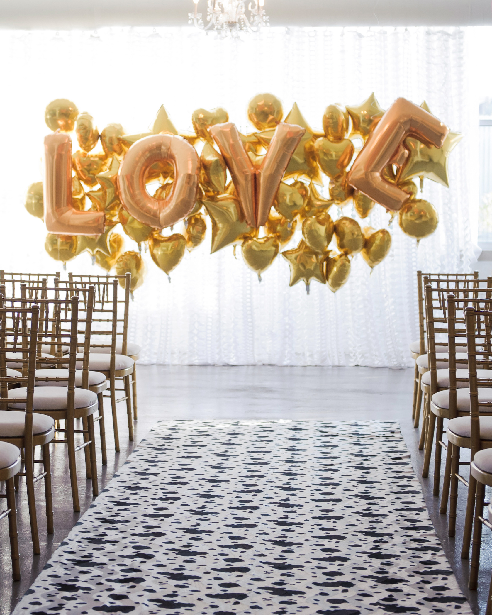 gold balloon backdrop love hearts stars