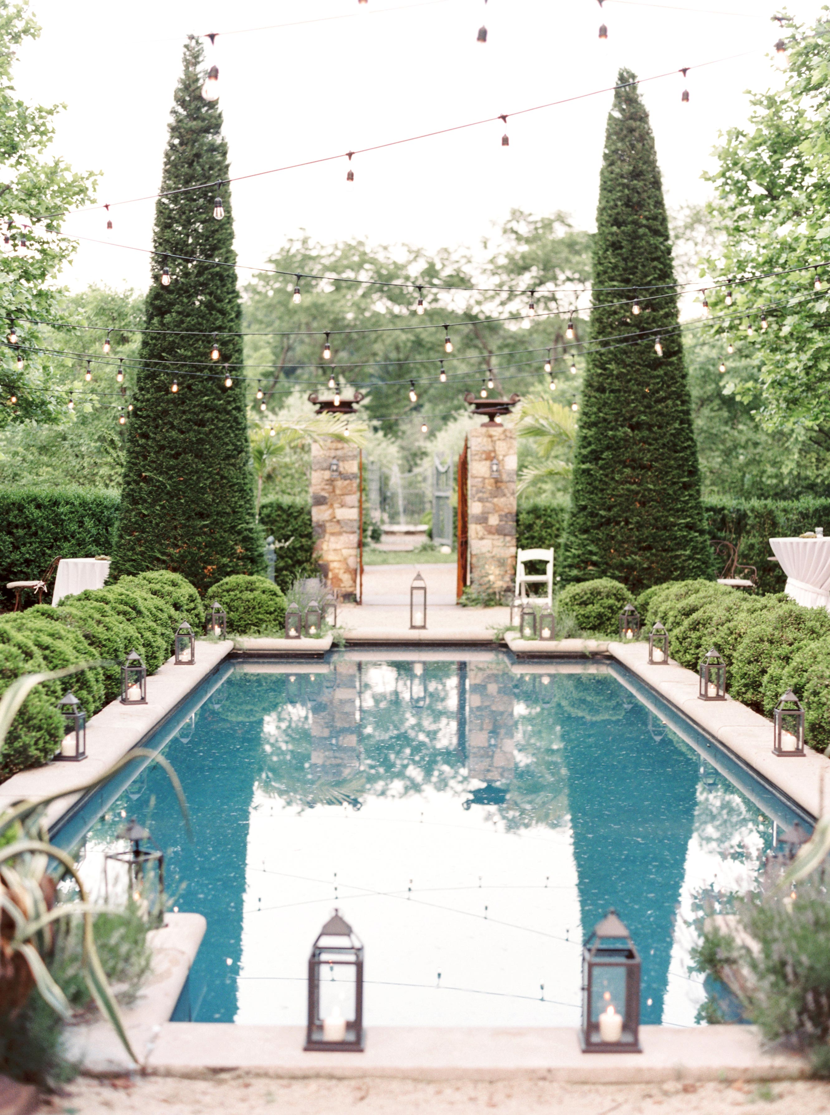 pool and garden outdoor ceremony