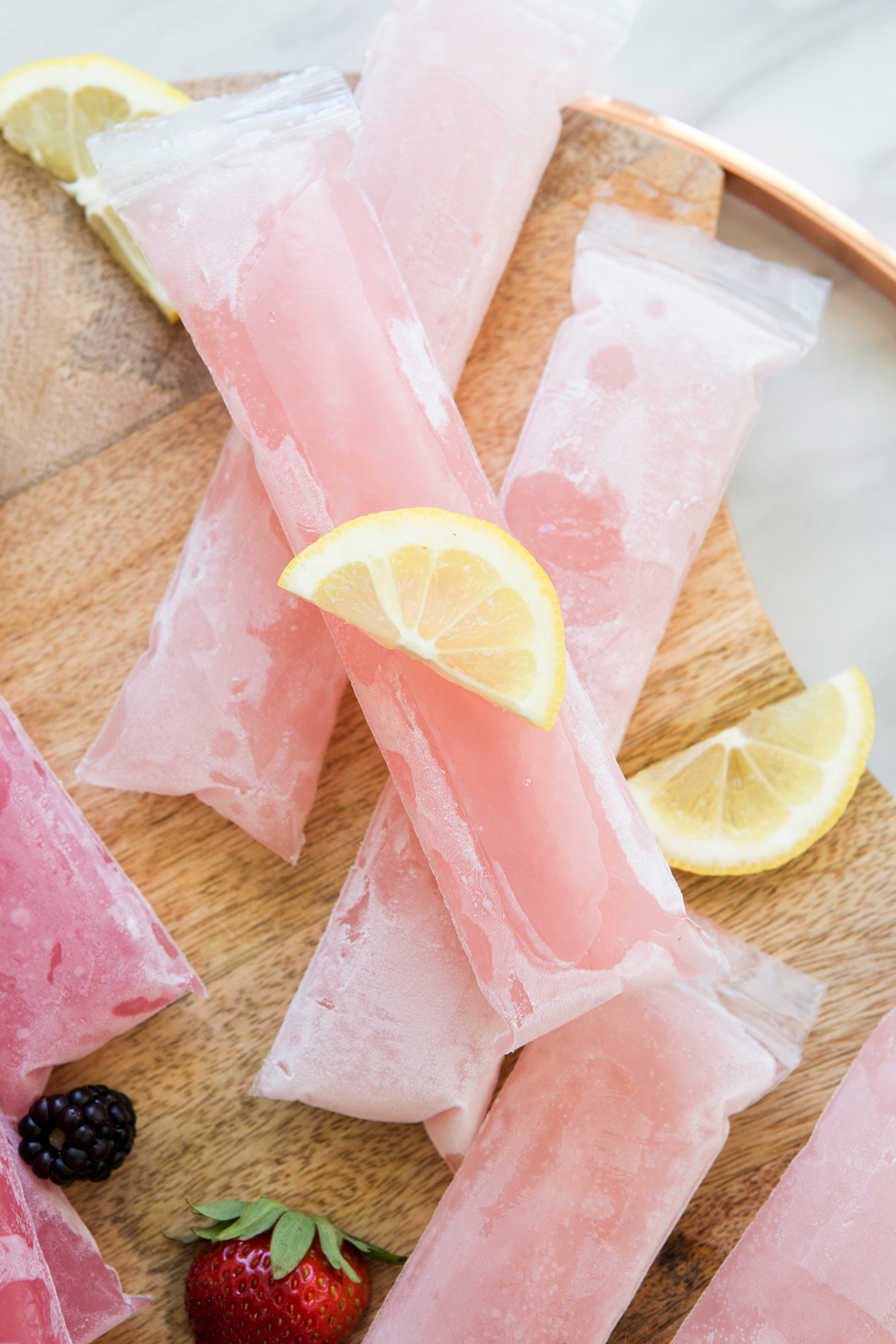 frozen rose lemonade popsicles