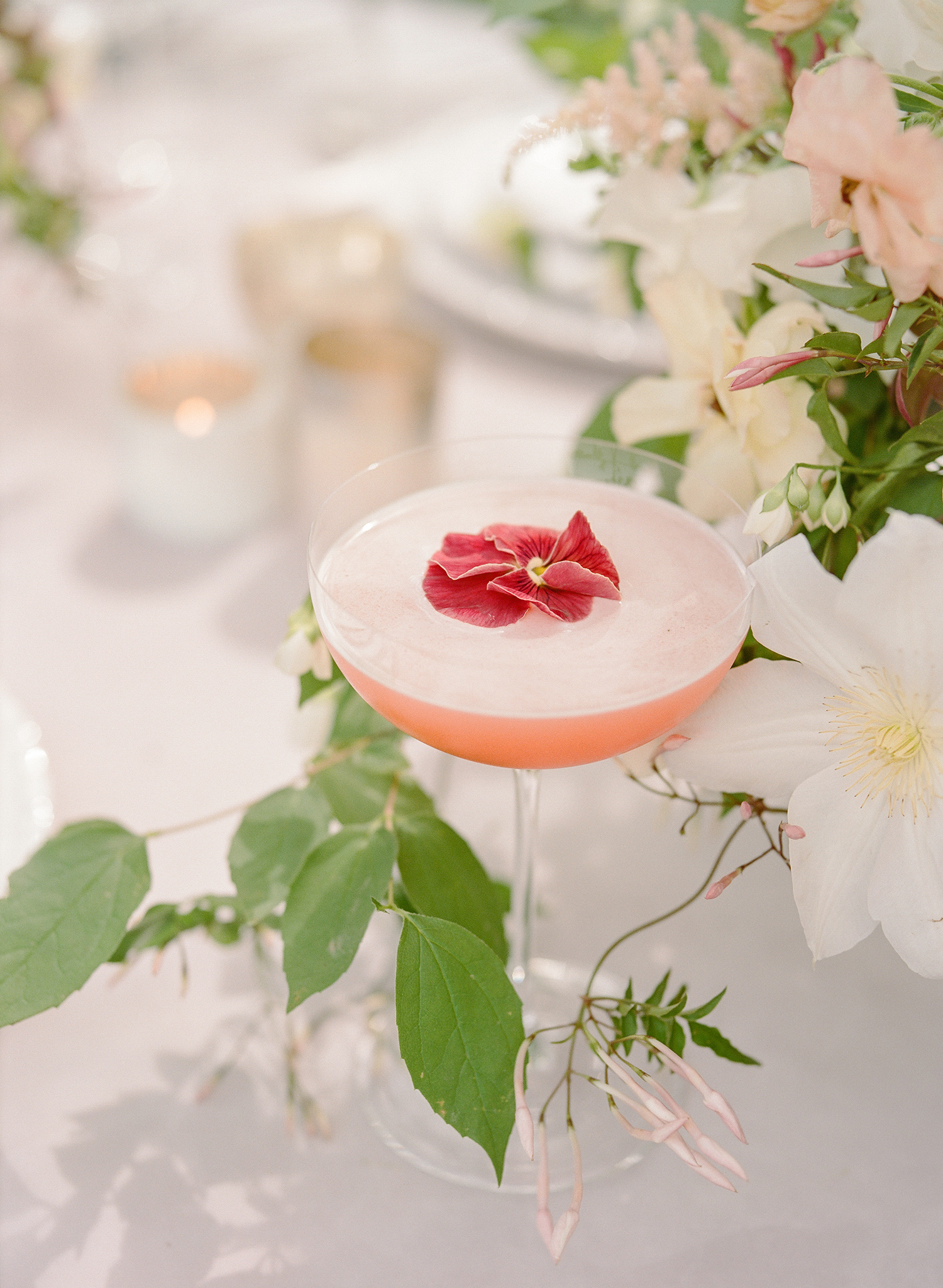 flower topped rose cocktail