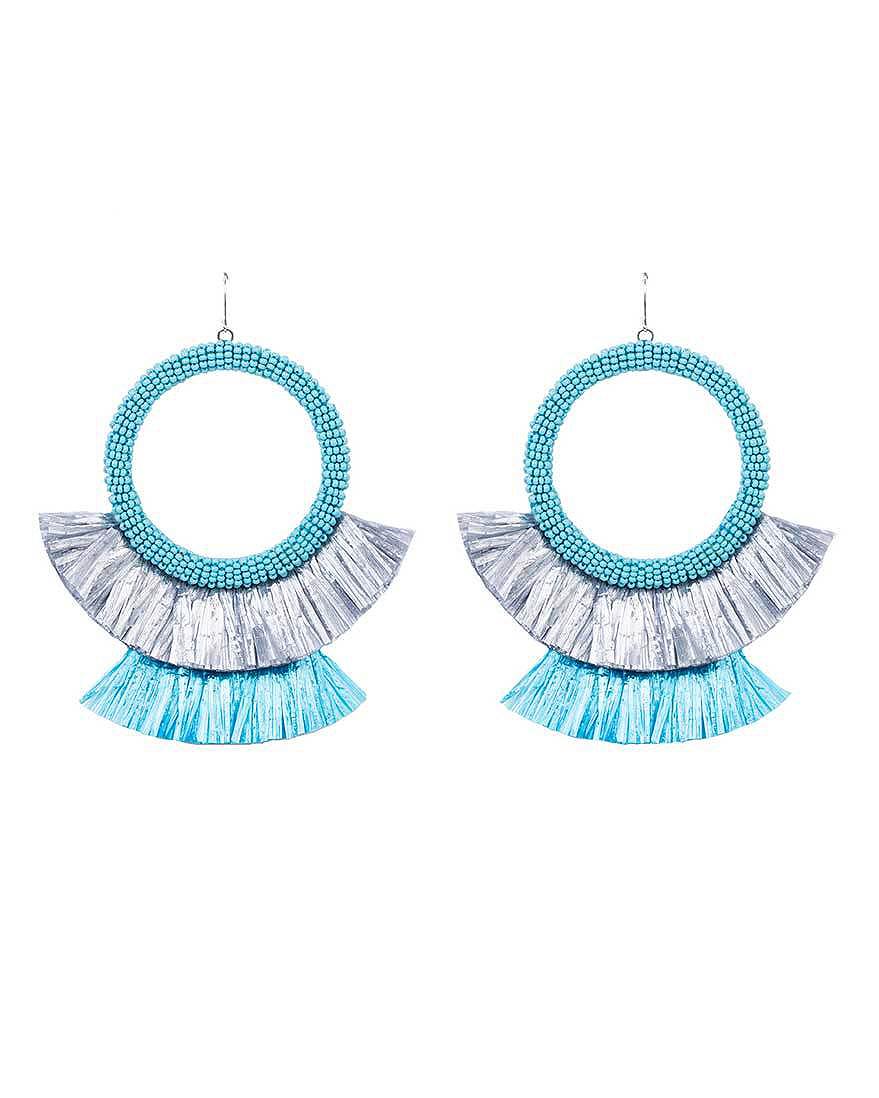 hoop tassel earrings