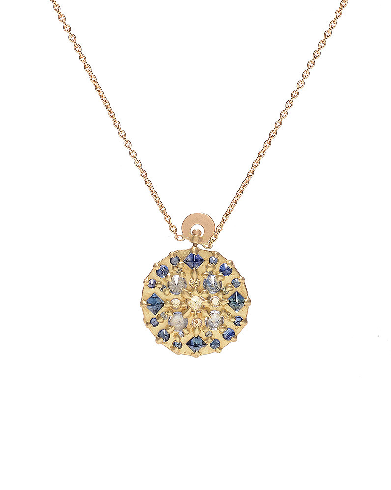 blue and diamond stone necklace