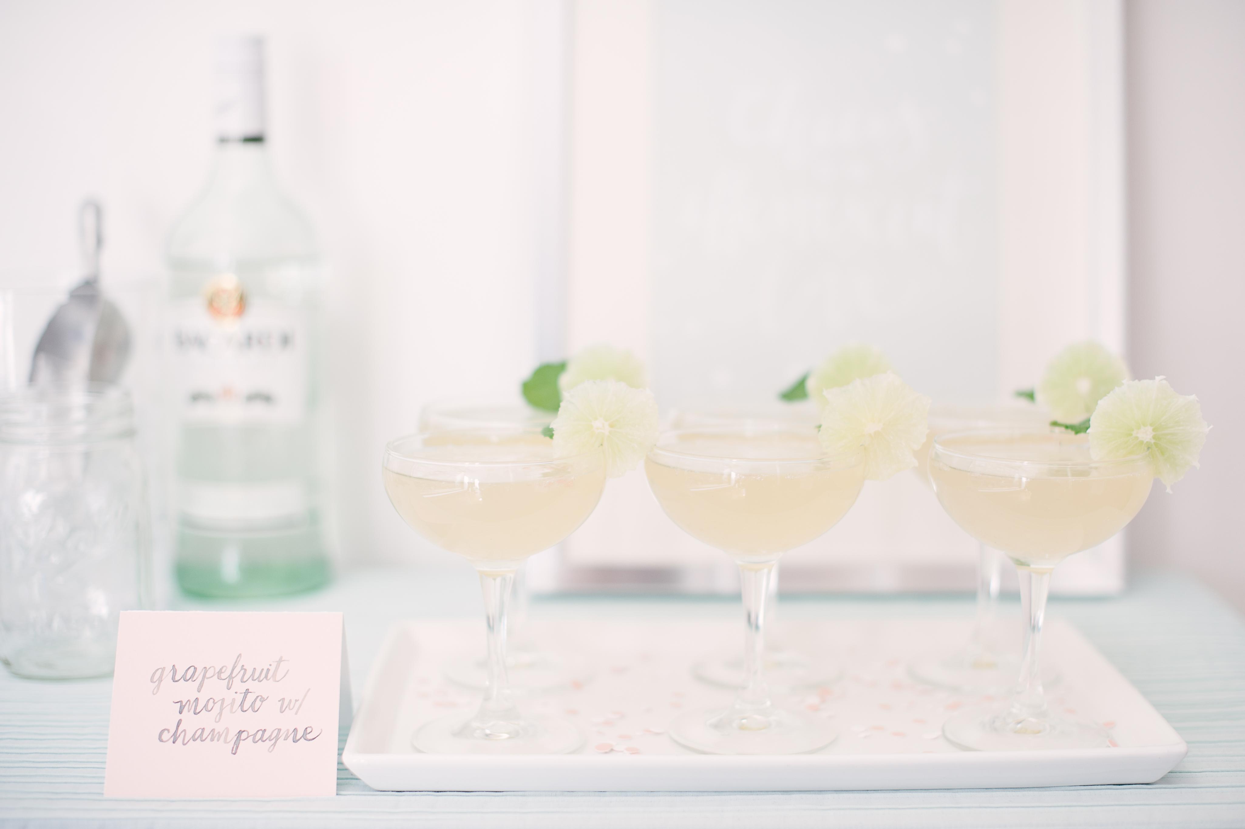 winter bridal shower mojito champagne cocktails