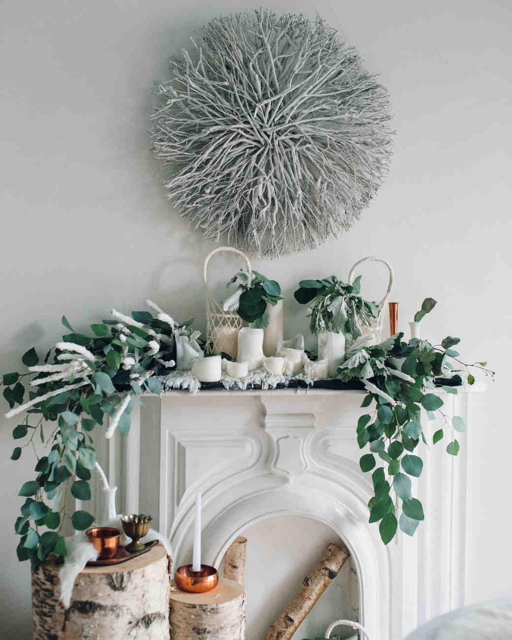 winter bridal shower eucalyptus wreathe