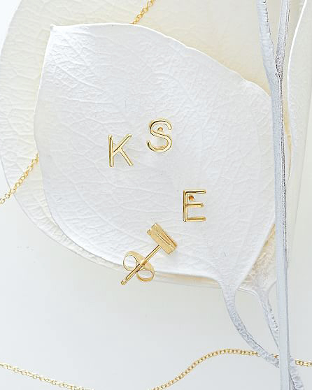 personalized bridesmaids jewelry gift initial earring
