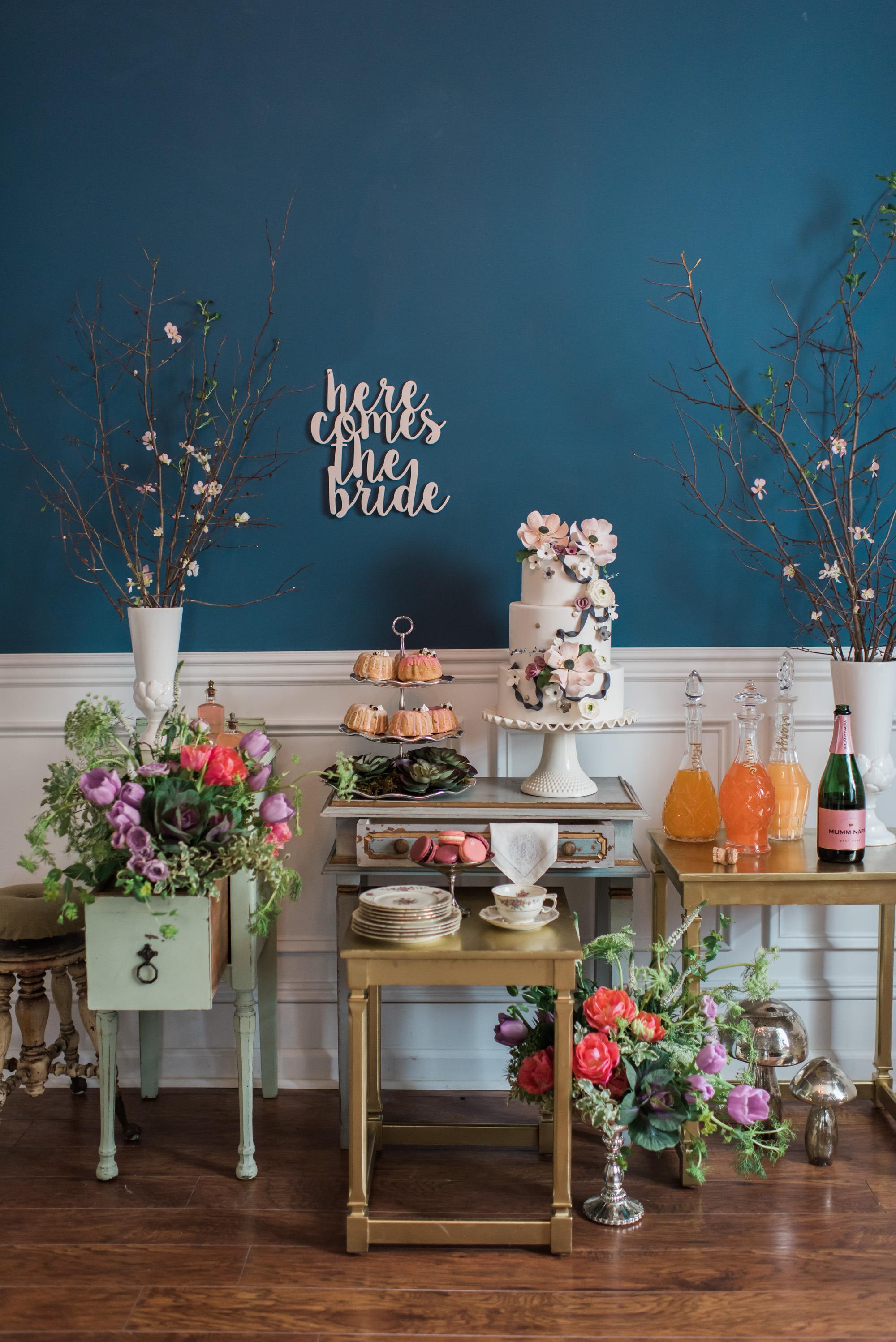 winter bridal shower desert and drinks table