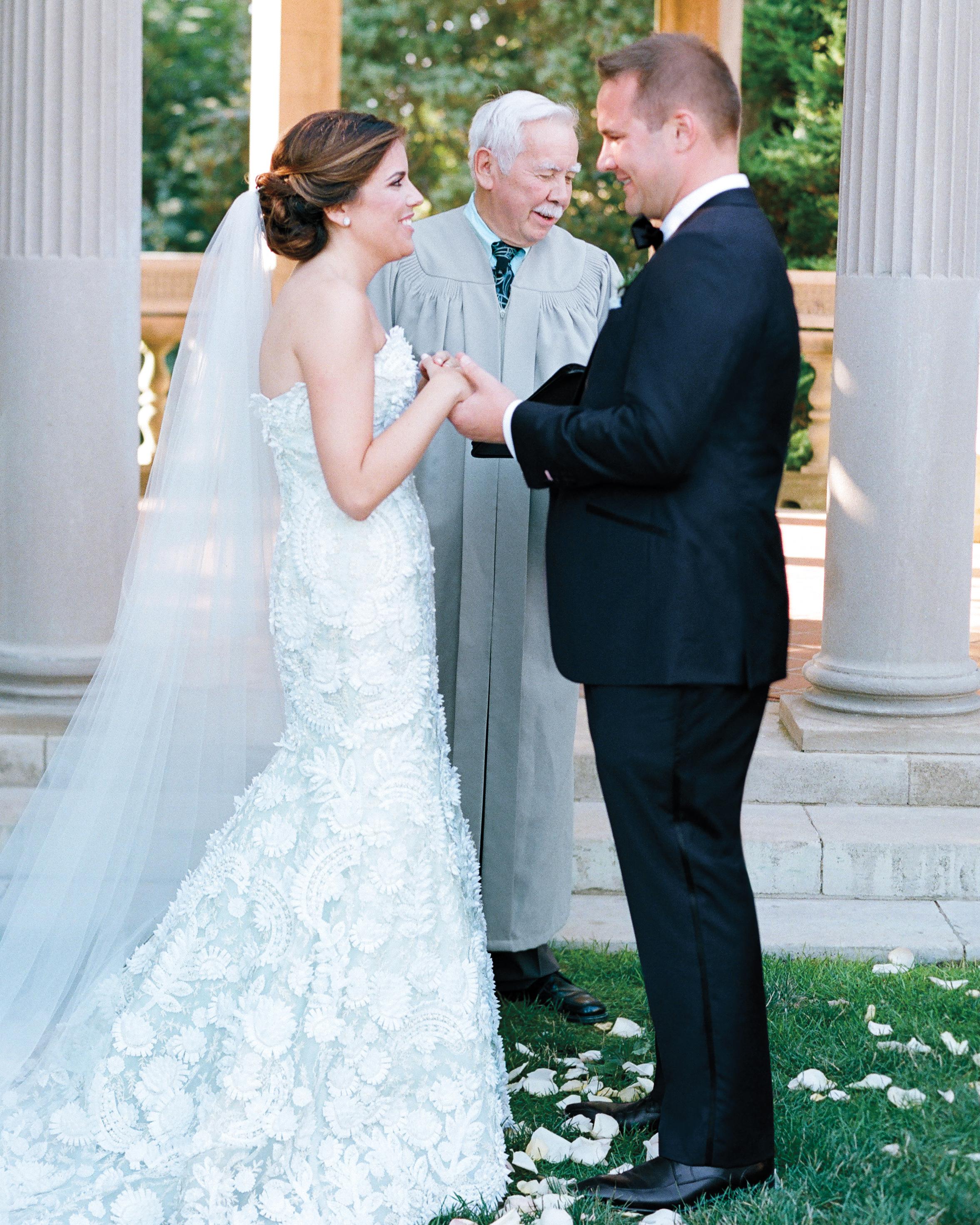 Red, Ruffled, High-Neck Wedding Dress