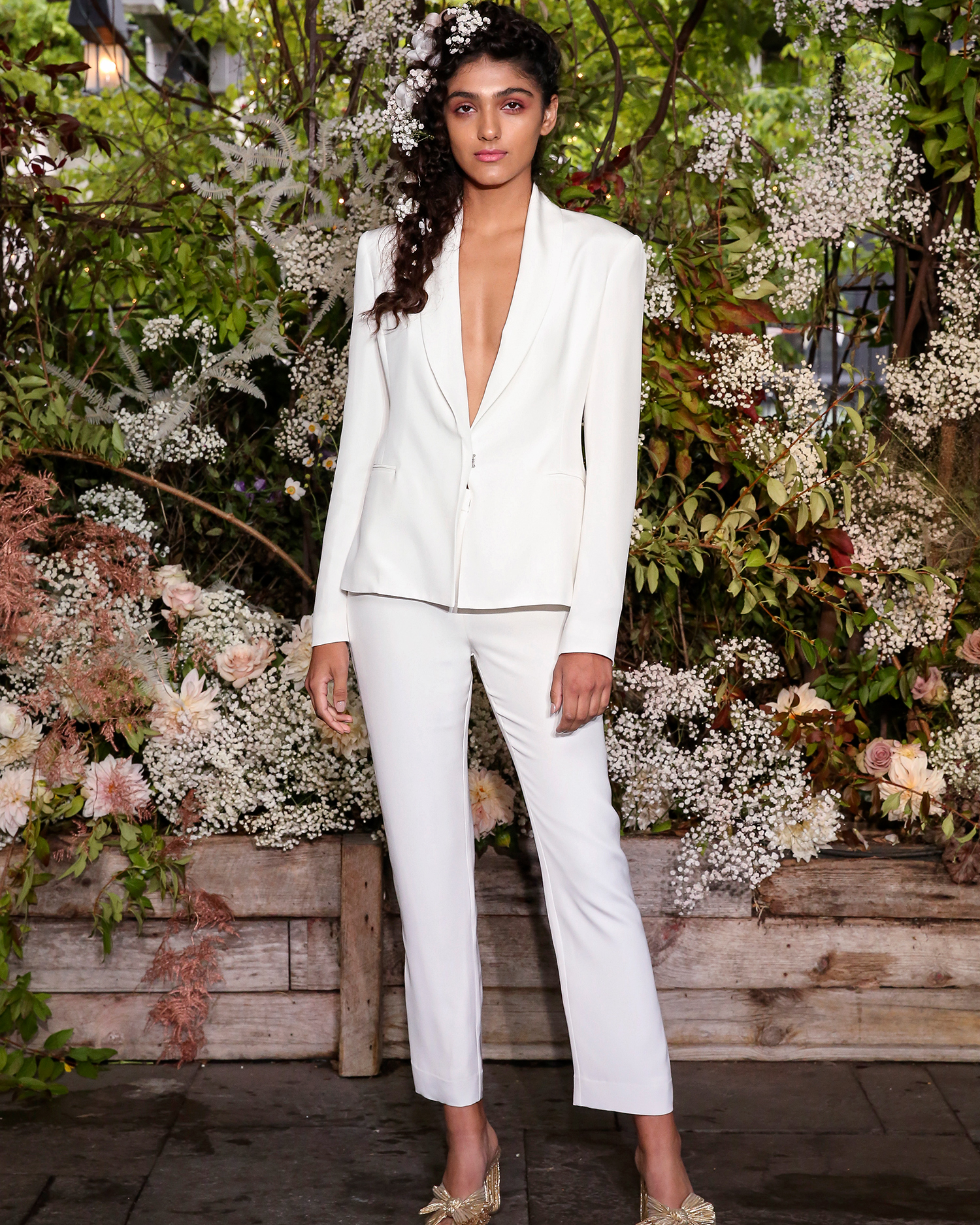 alexandra grecco wedding cropped pantsuit plunging neck
