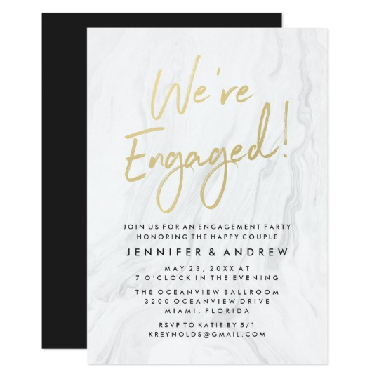 Zazzle Marbled Engagement Party Invitation