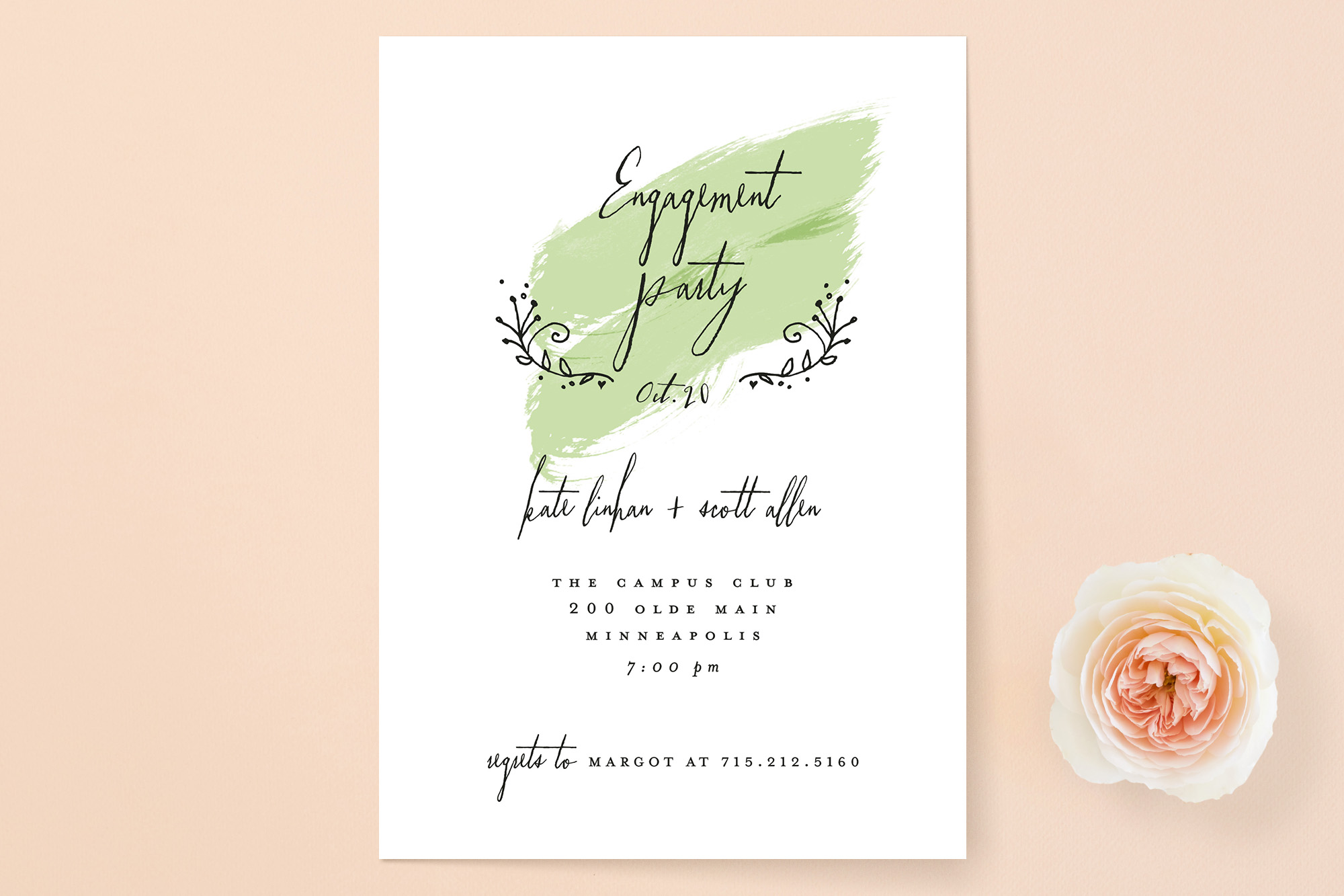 Susan Brown for Minted Watercolor Engagement Party Invitation