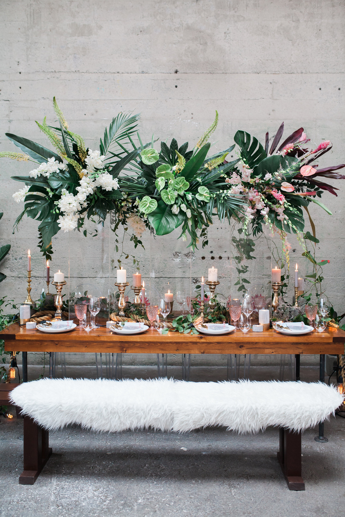 Floating Tropical Florals above reception table