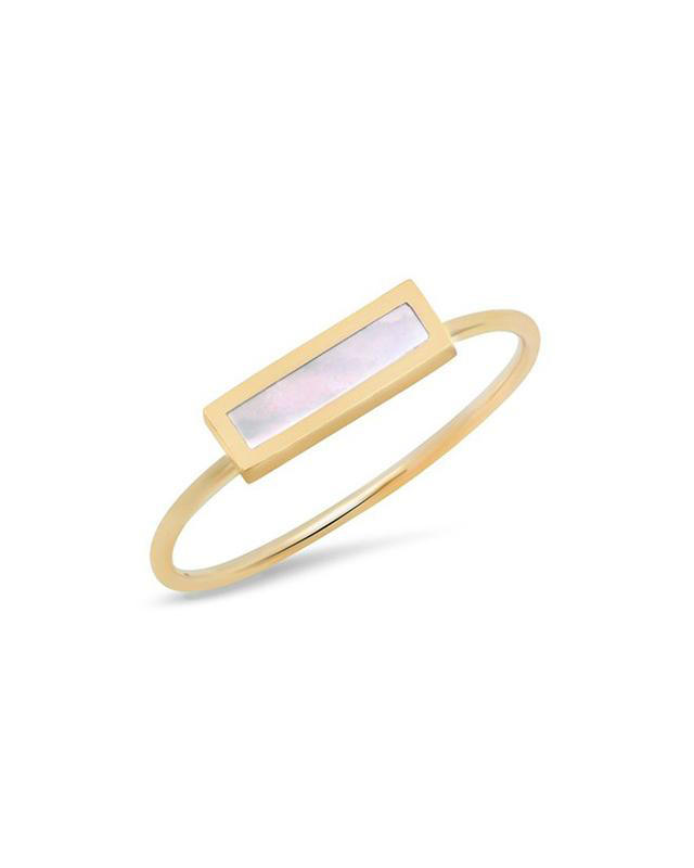 Pearl Inlay Bar Gold band Ring