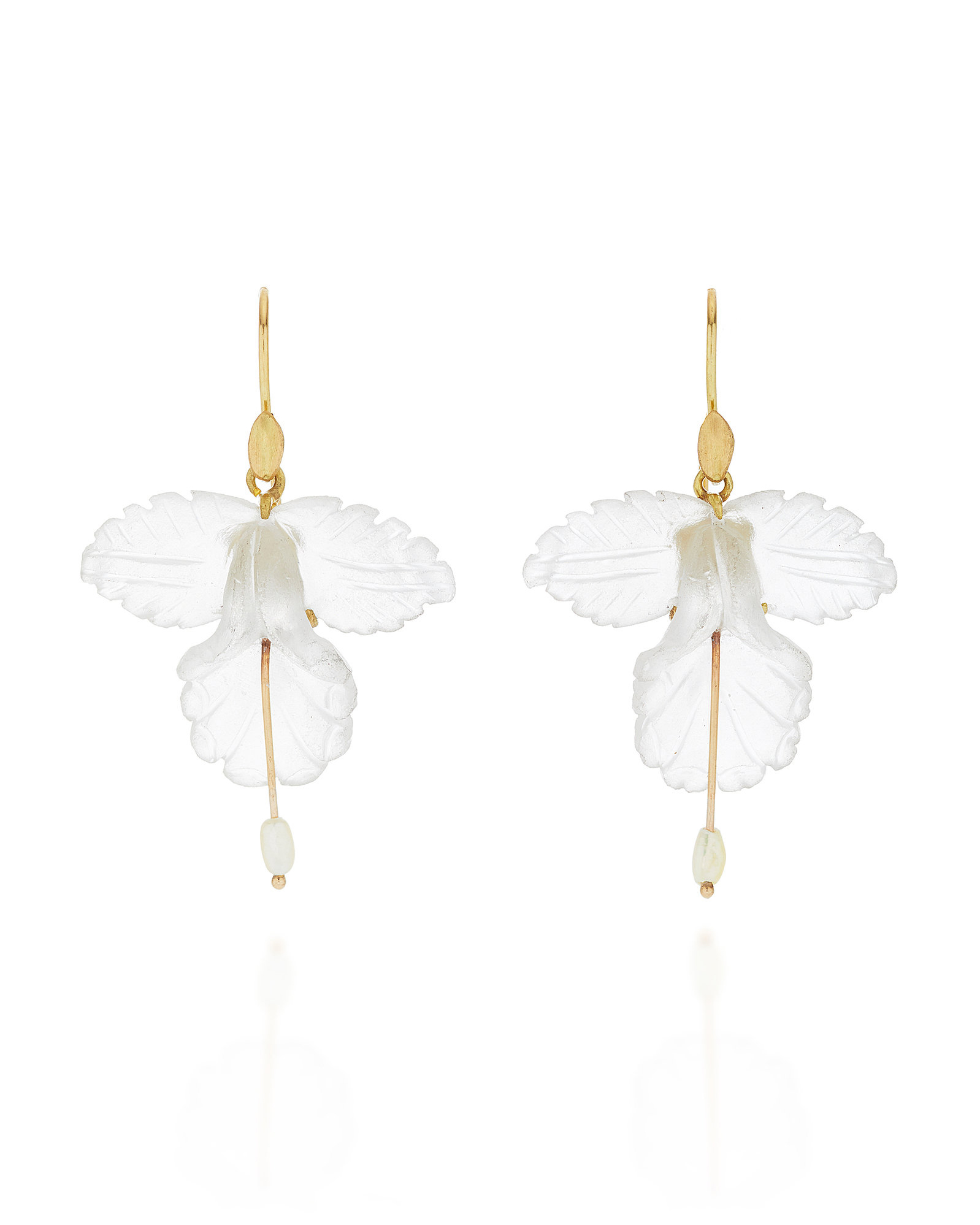 18-Karat Gold, Quartz, and Pearl Orchid Earrings