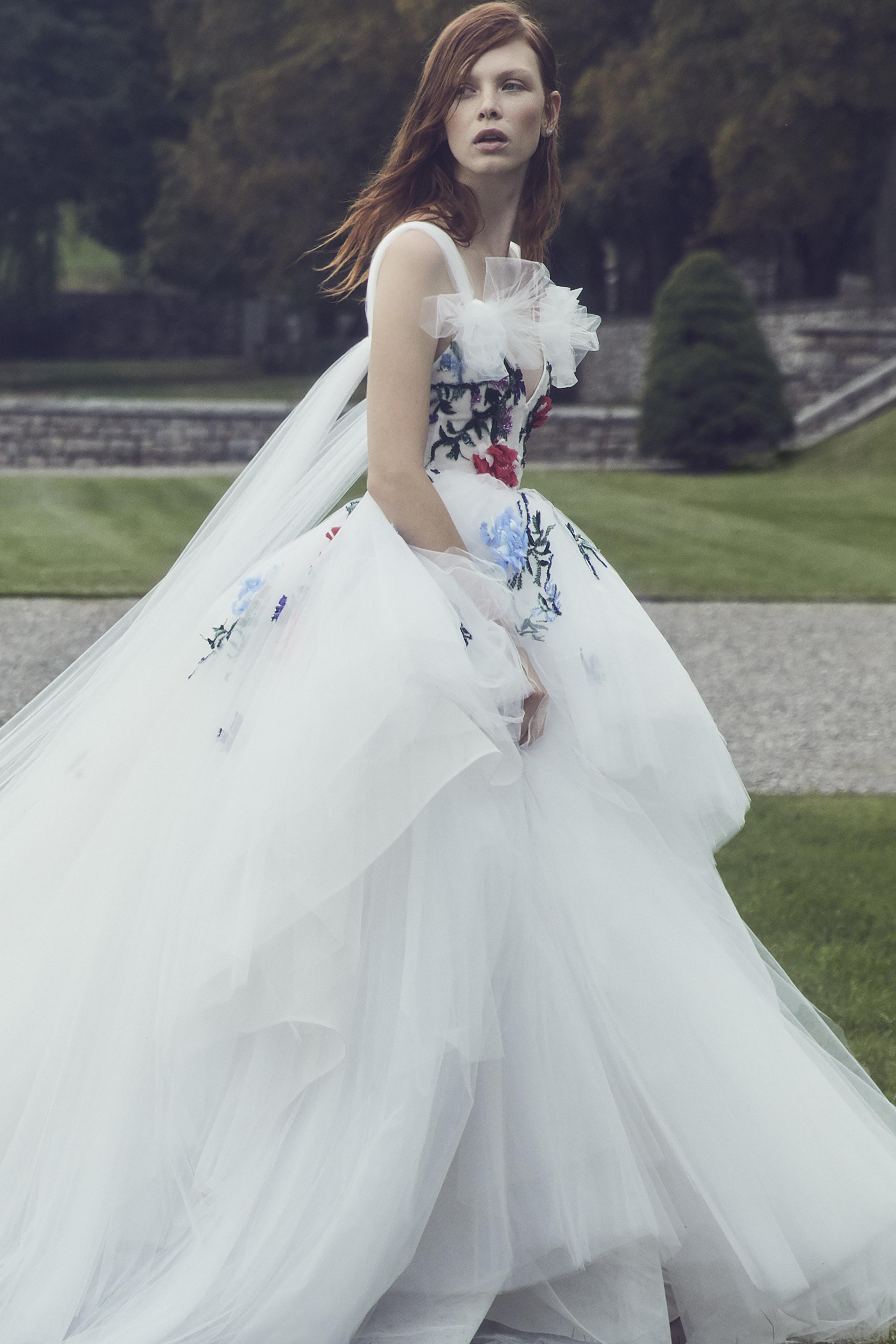 monique lhuillier fall 2019 v-neck ballgown with colorful floral applique