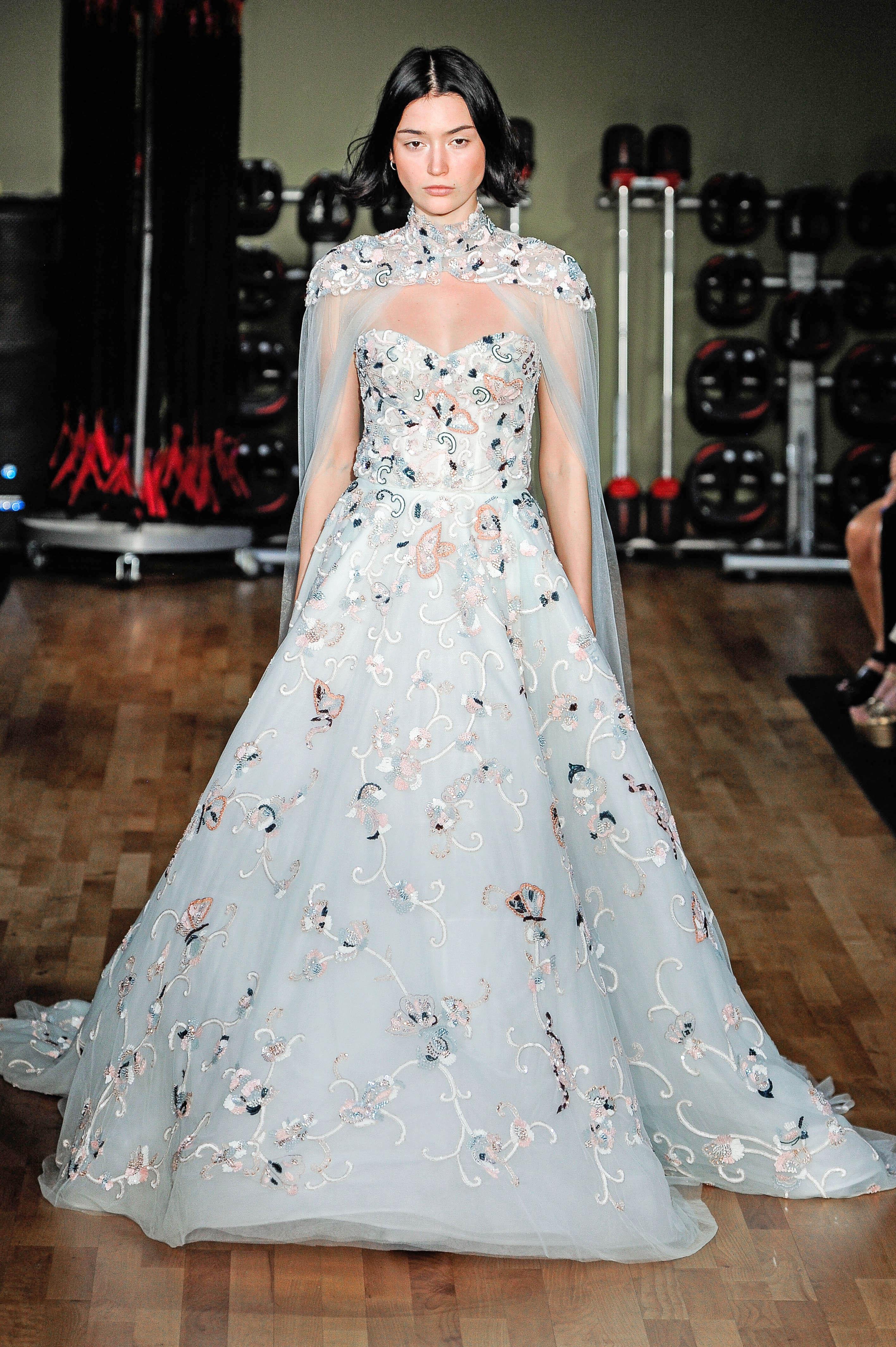 rivini by rita vinieris blue floral a-line wedding dress with cape fall 2018