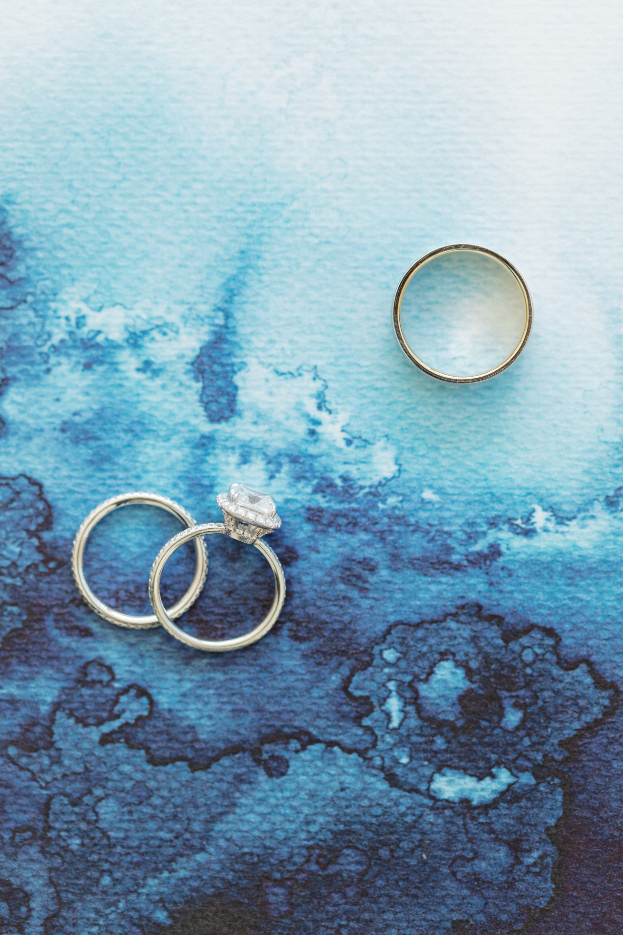 rings on watercolor background