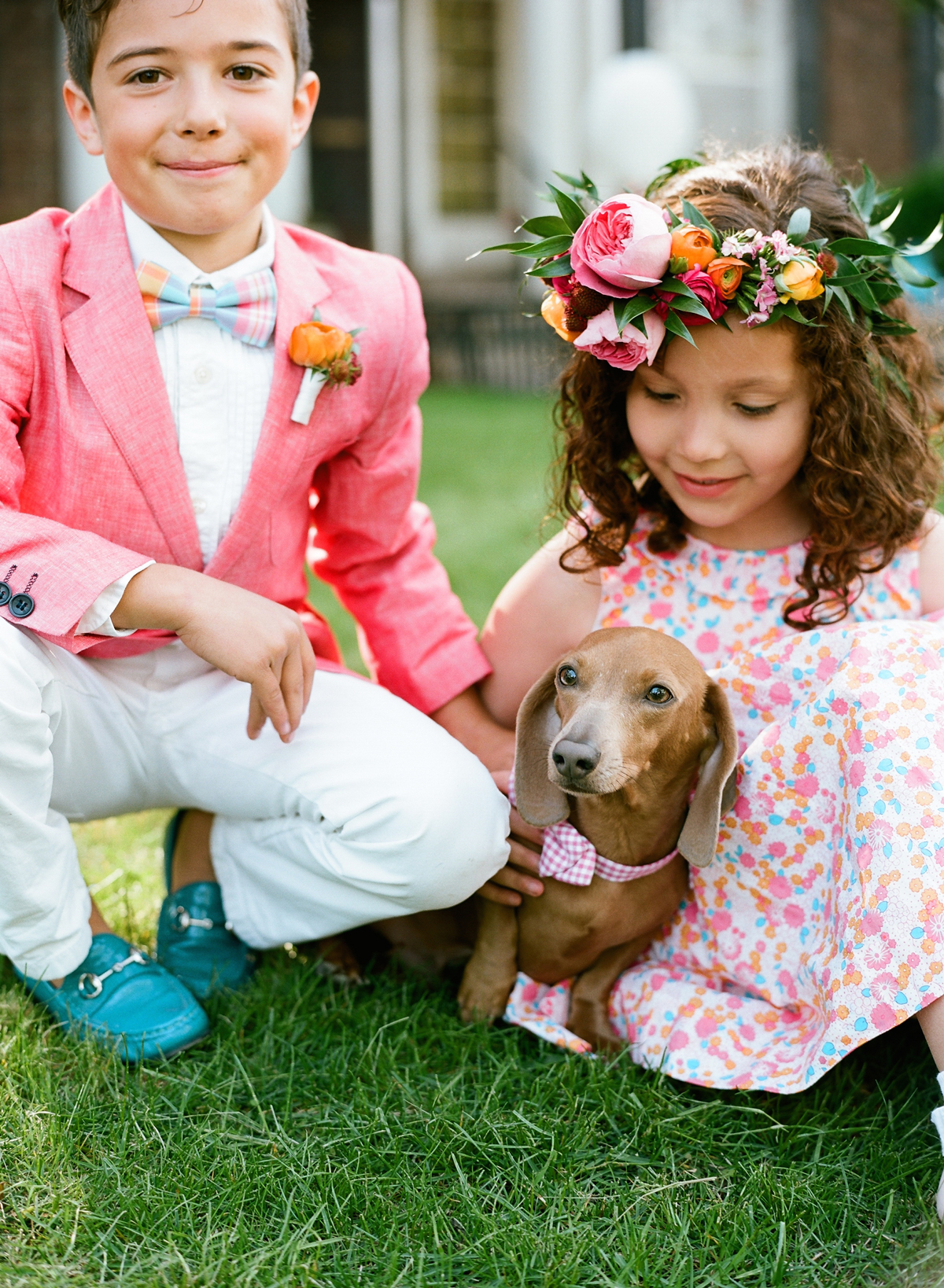 ring bearer and flower girl with dog