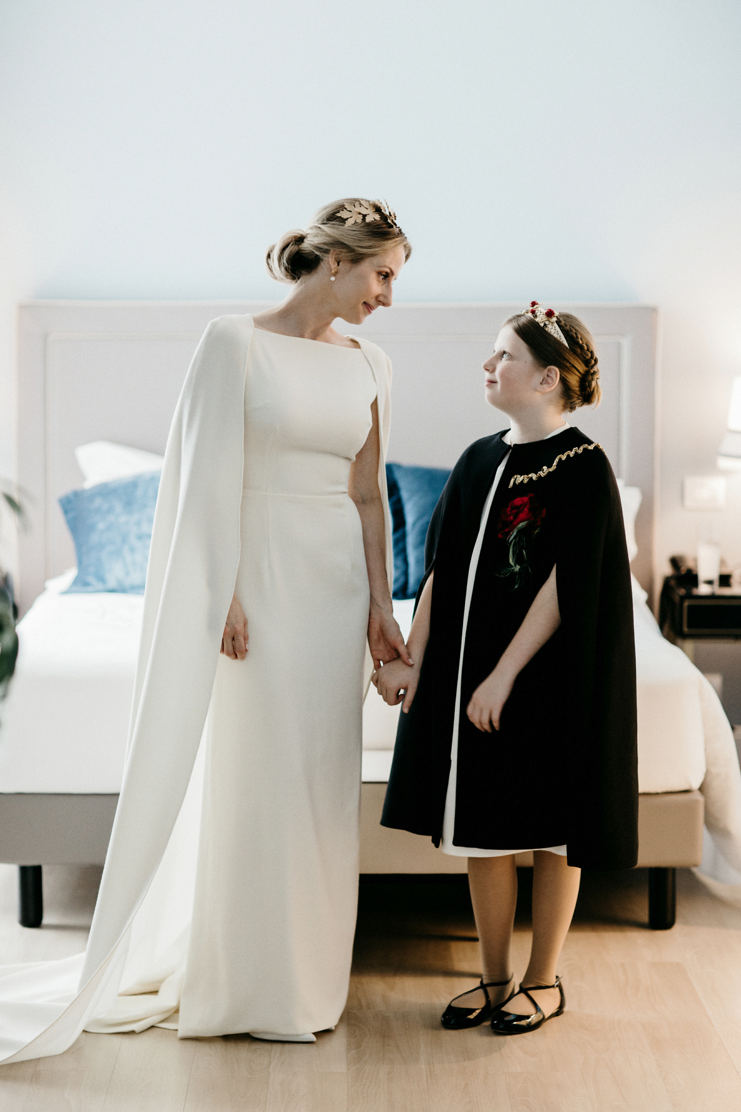 junior bridesmaid with cape