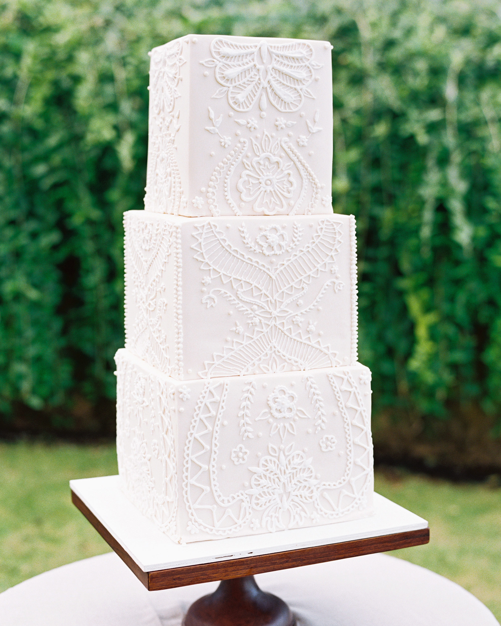 cubed wedding textured lace white cake