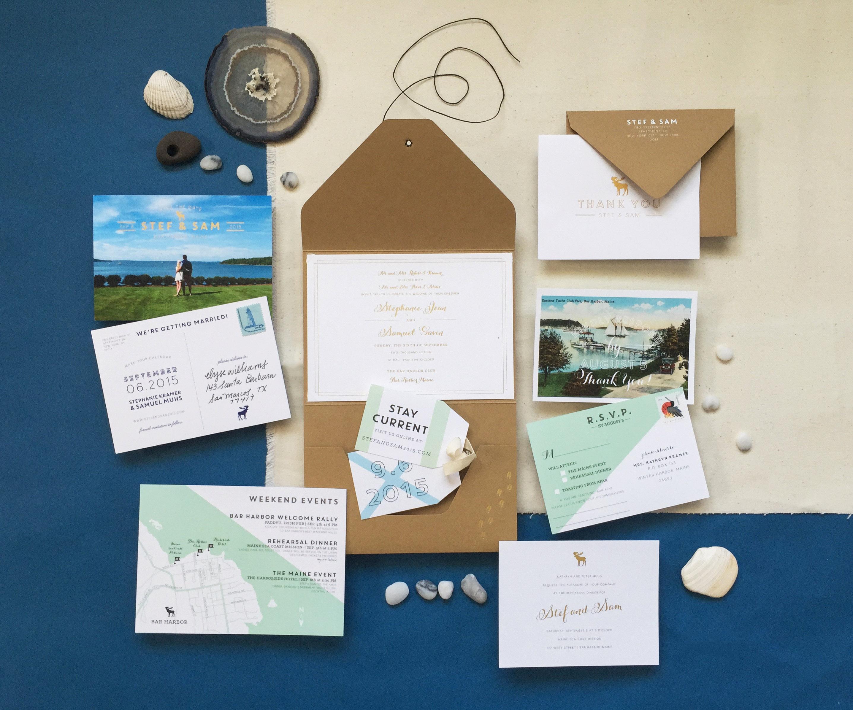nautical invitation set with land and sea design elements