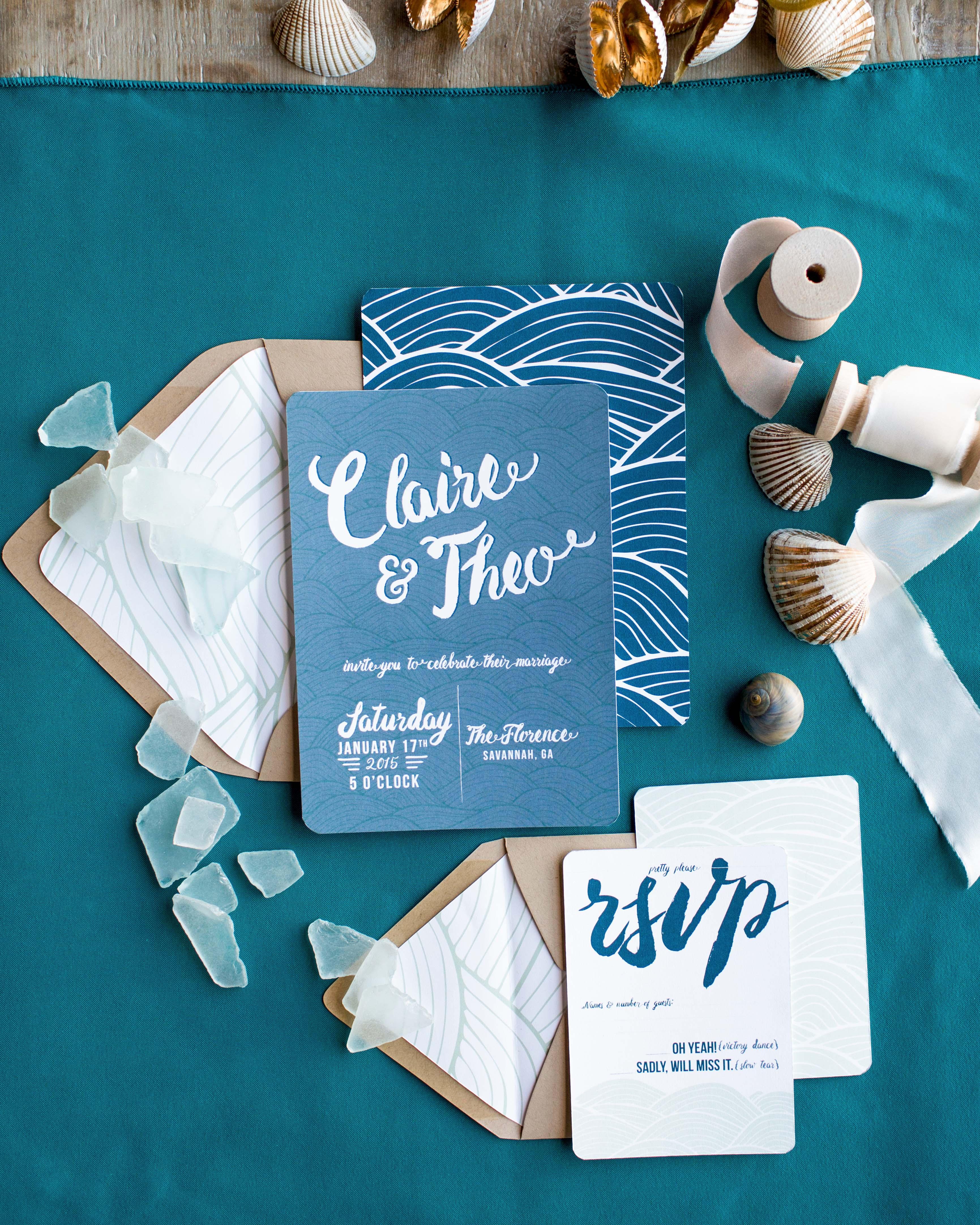 nautical invitation set sea green and medium blue woodblock print