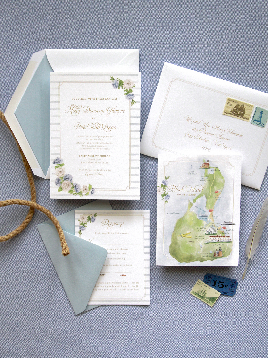nautical invitations with water color stripes and flowers