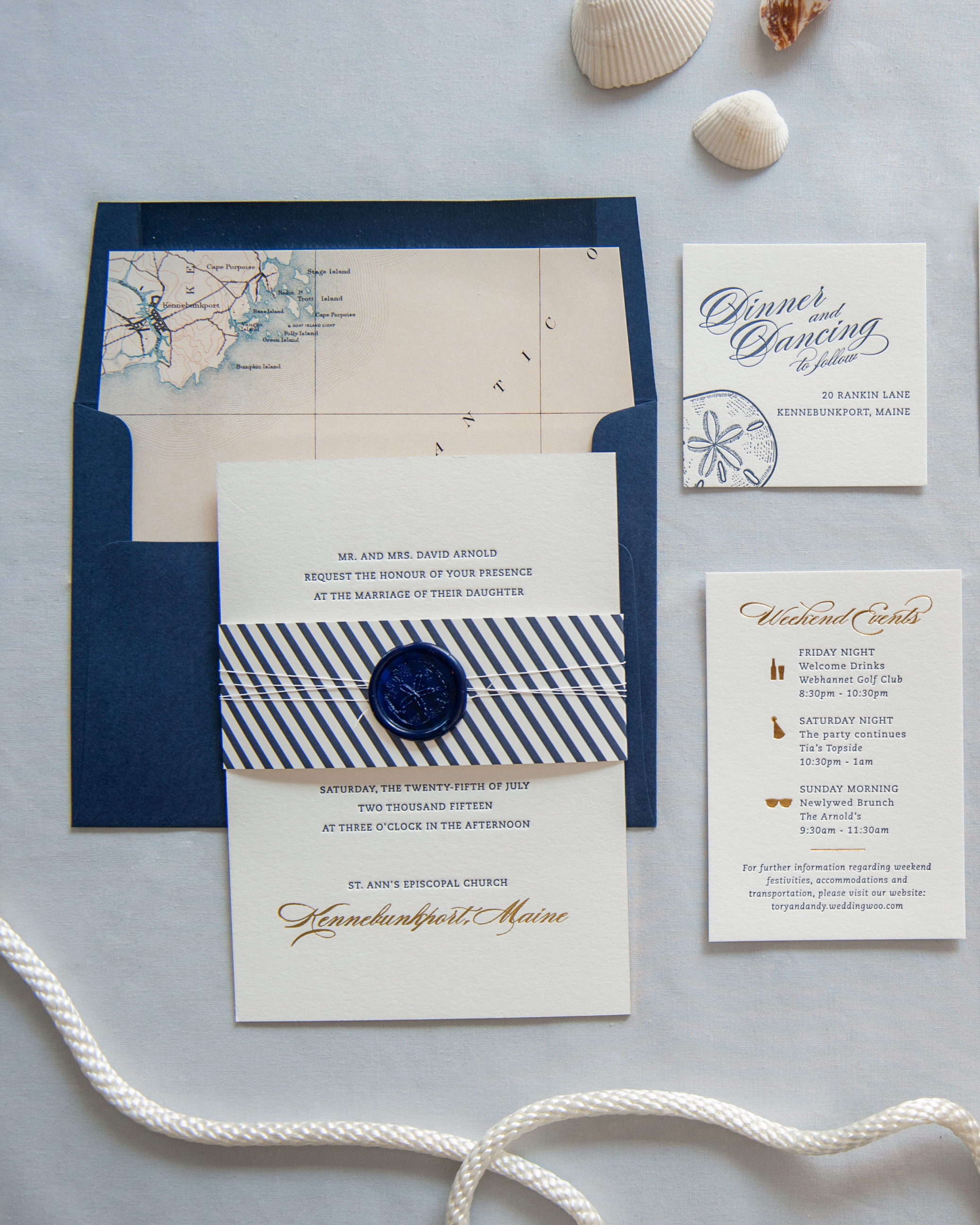 nautical invitations gold foil with blue text spread