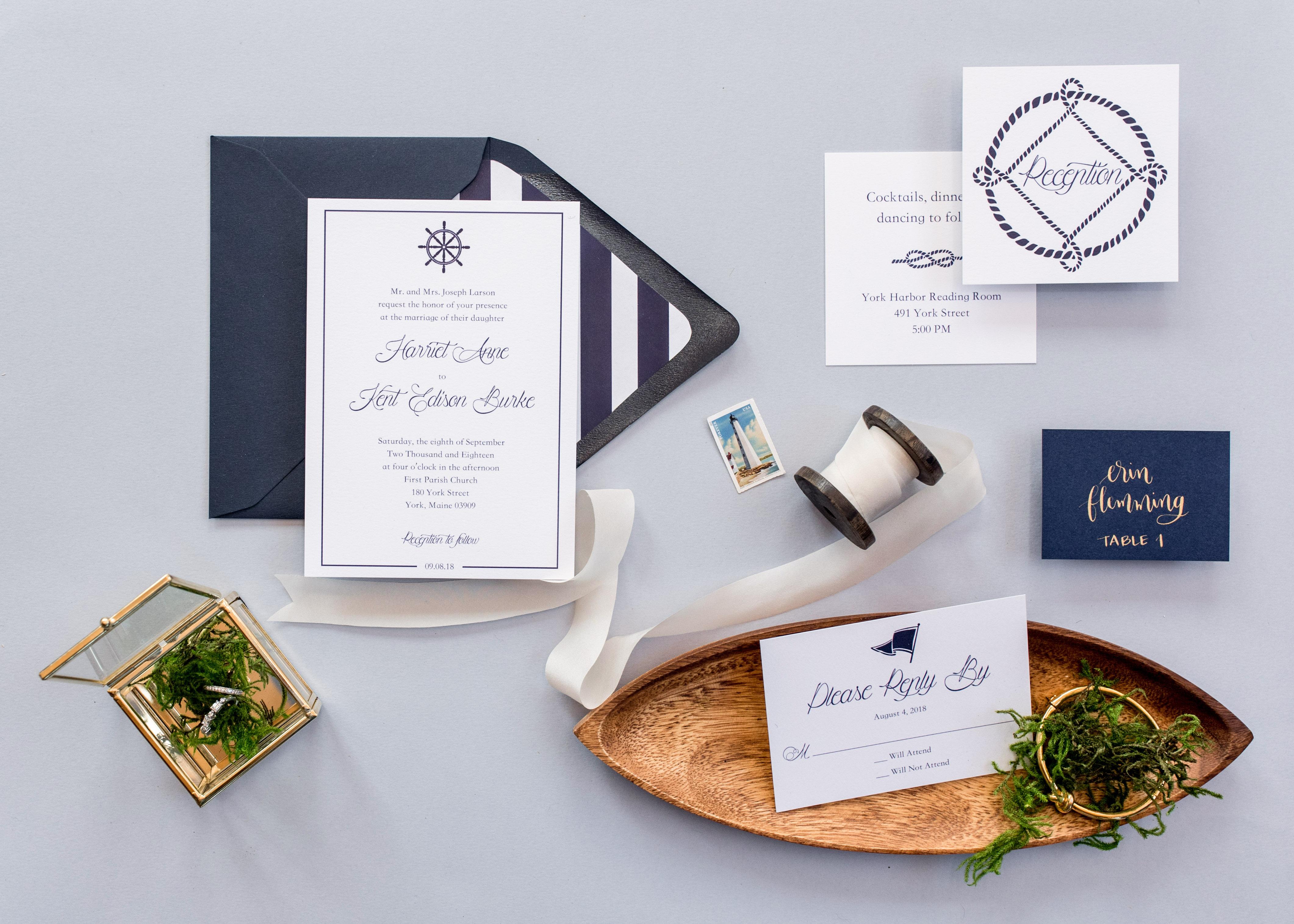 nautical invitation set with blue font new england elements