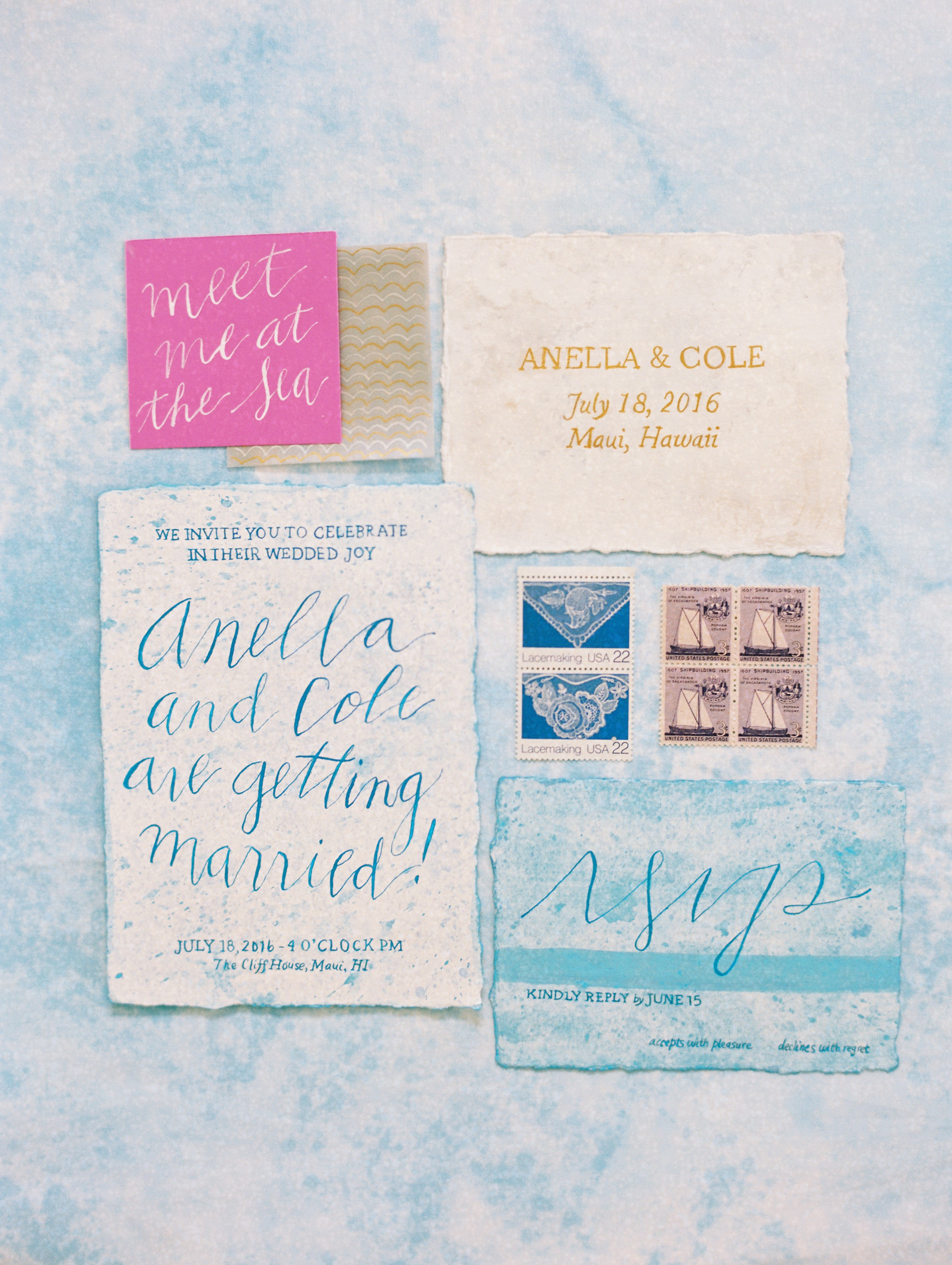 Soft blue ocean wedding invitations with hand lettering
