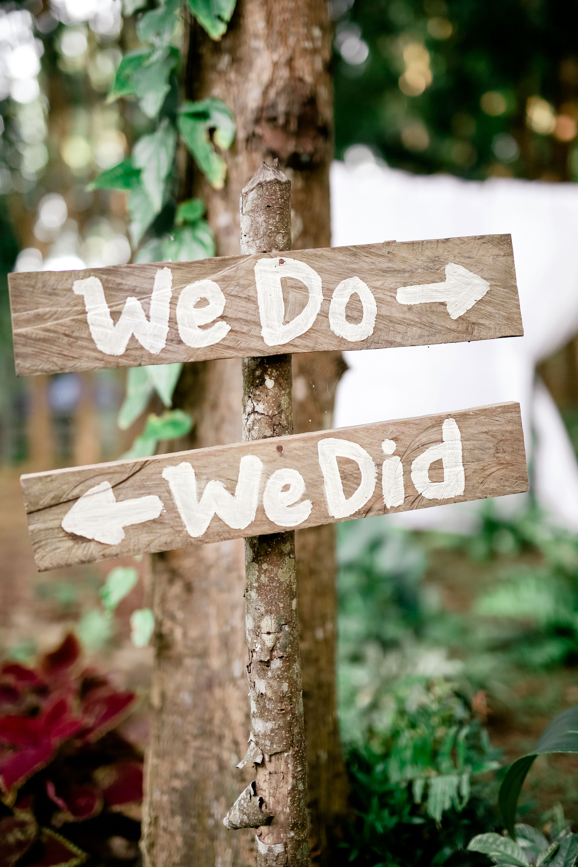 we do we did wooden arrows sign wedding