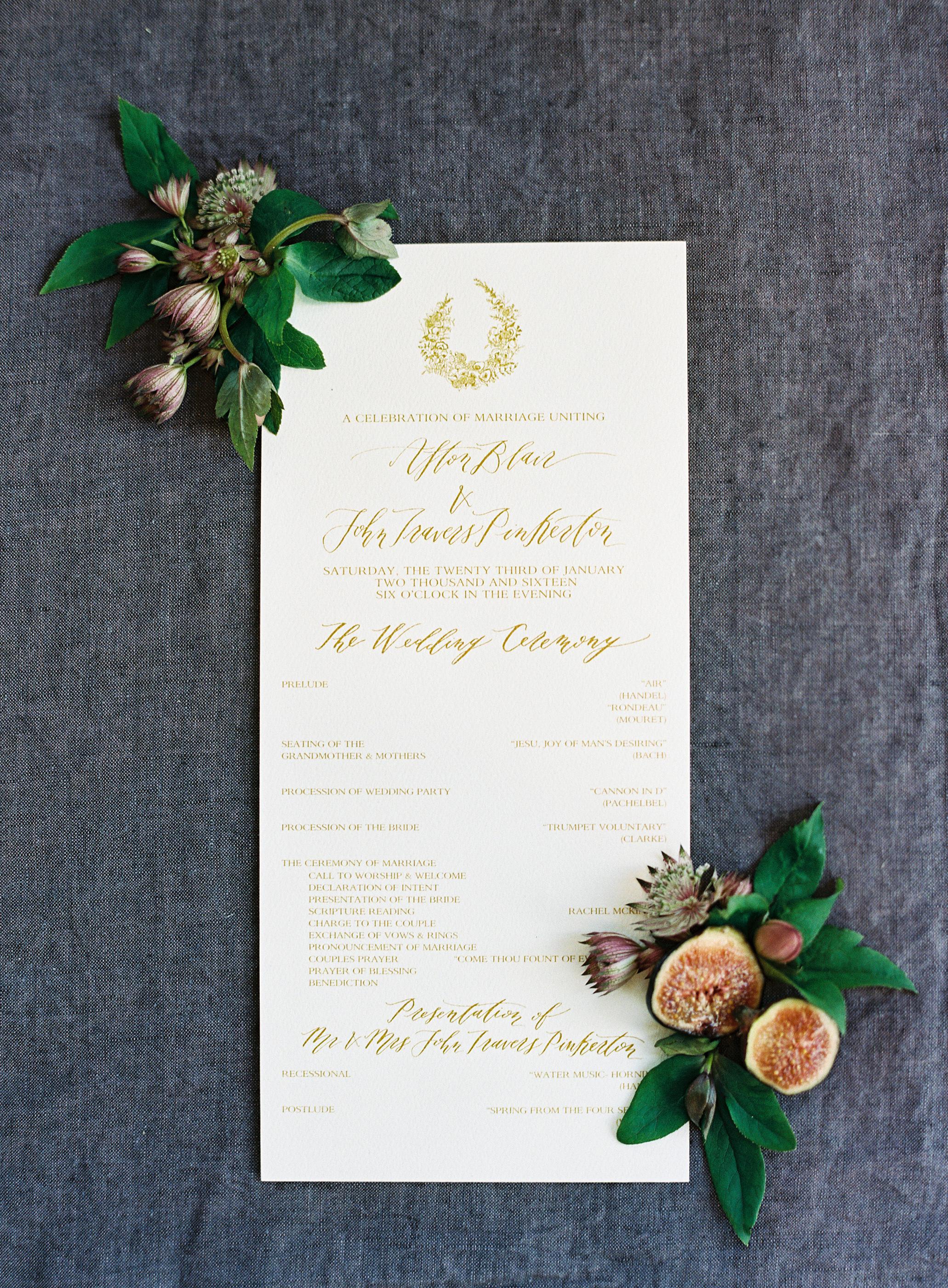 afton travers wedding program