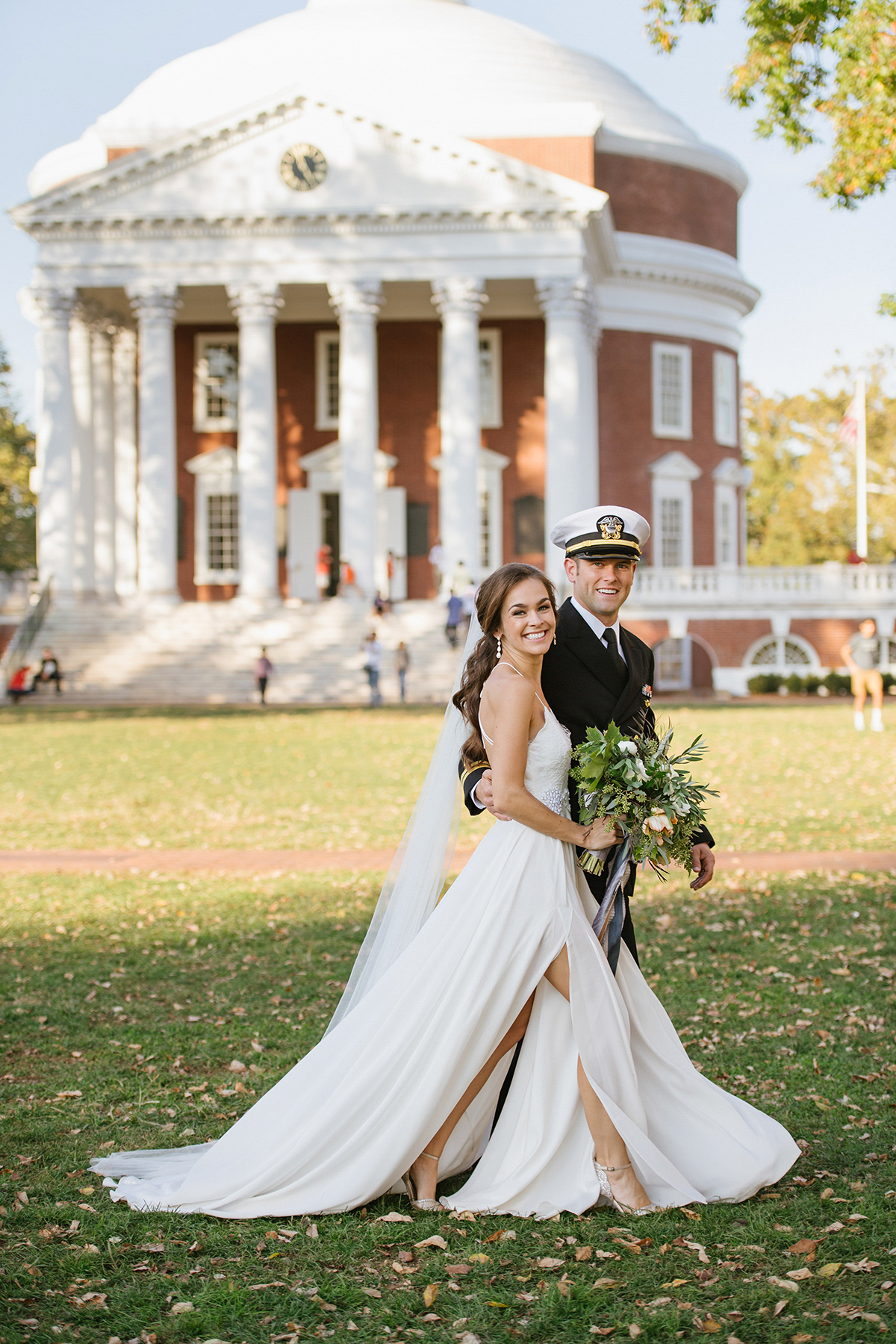 anne and staton wedding portrait outside venue