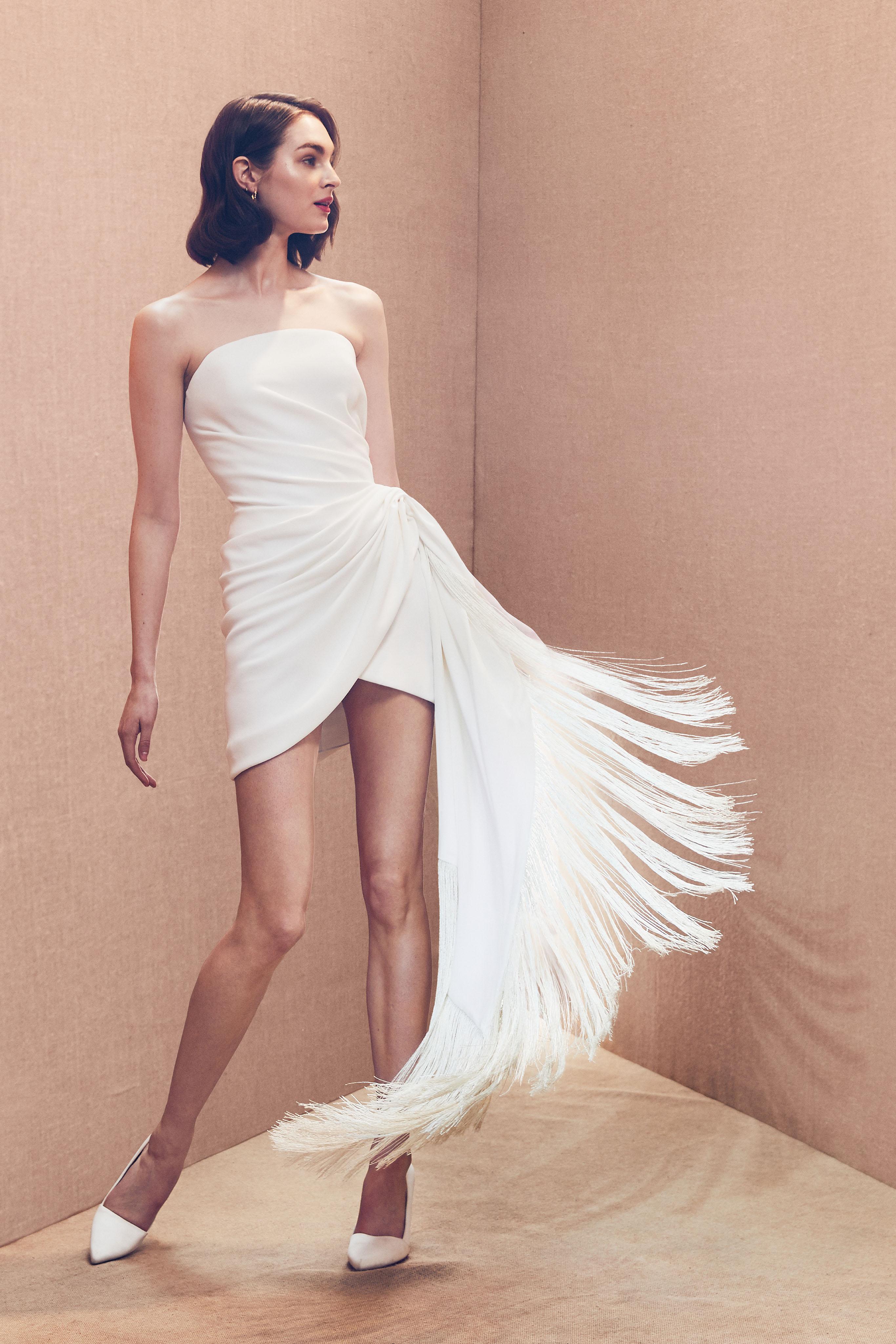 strapless straight across rushing fringe short wedding dress Oscar de la Renta Spring 2020