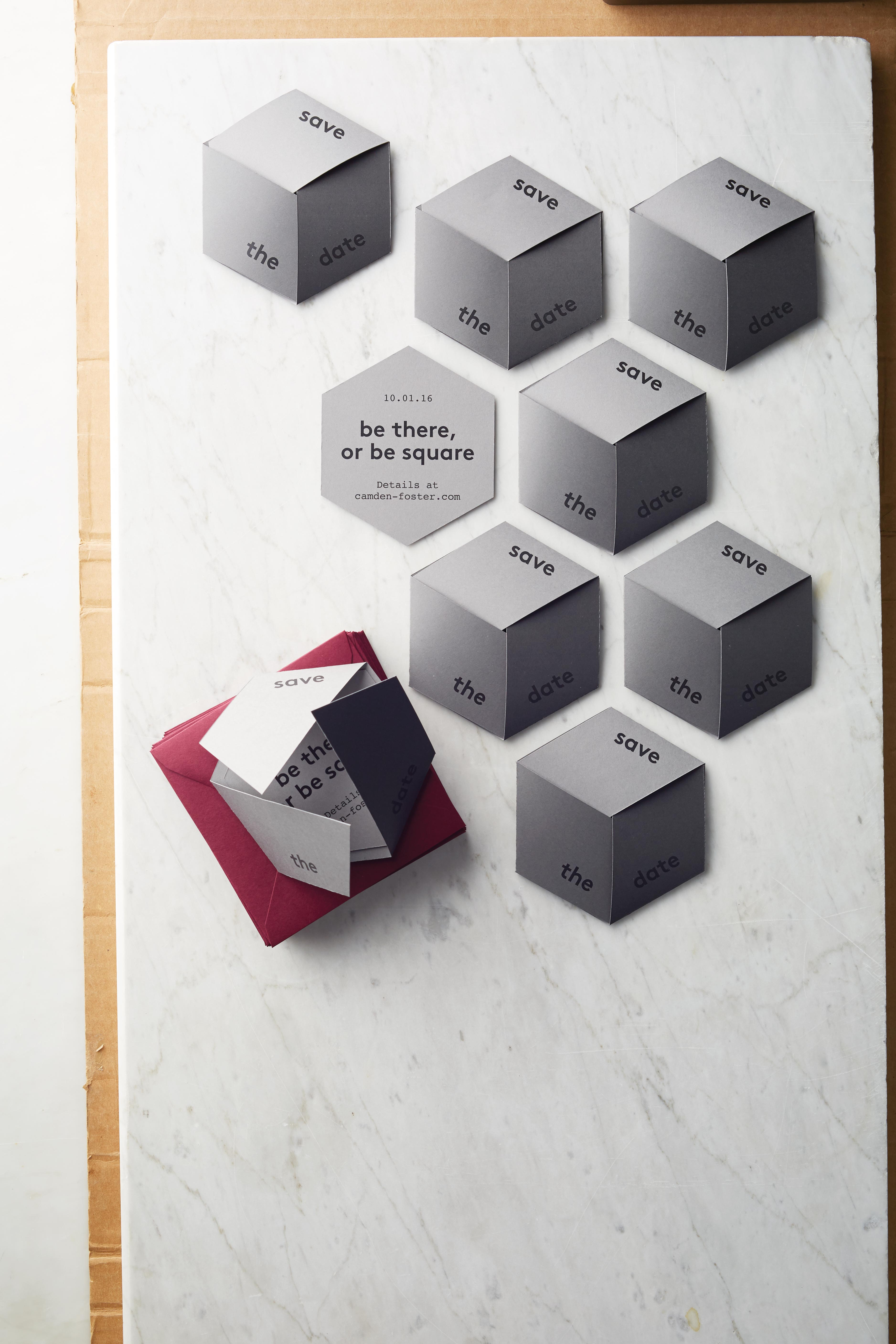 cube save the date paper presentation