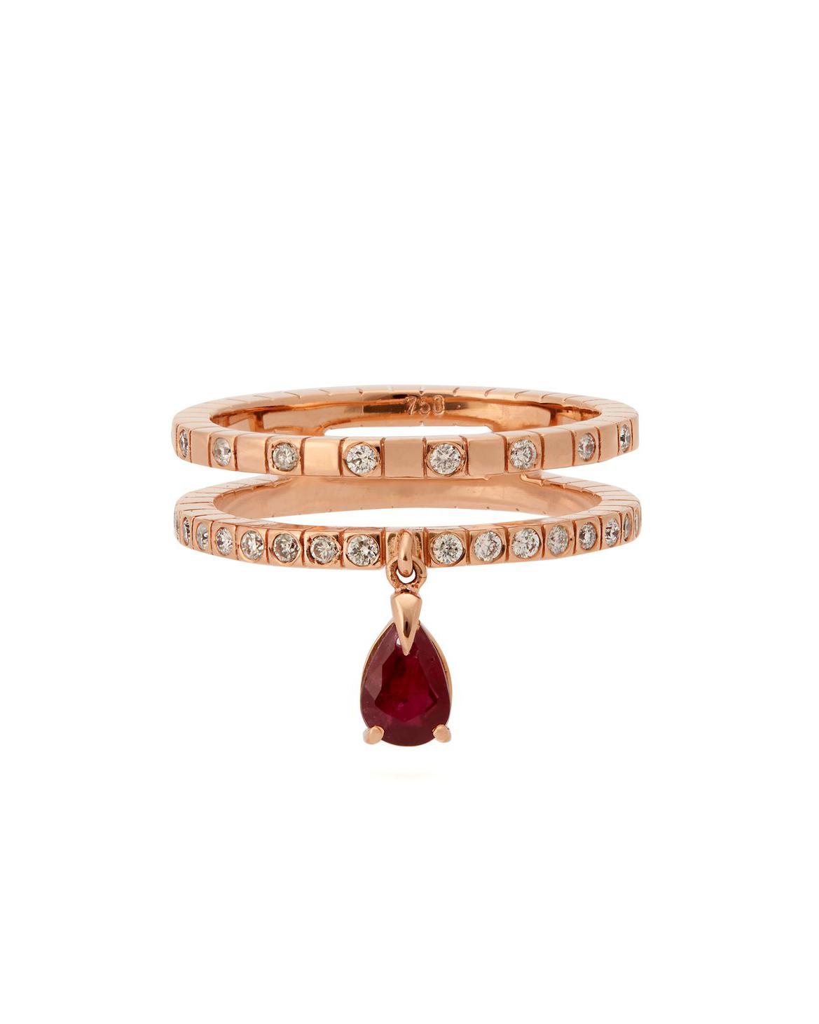 18-Karat Rose Gold Diamond Ruby Ring