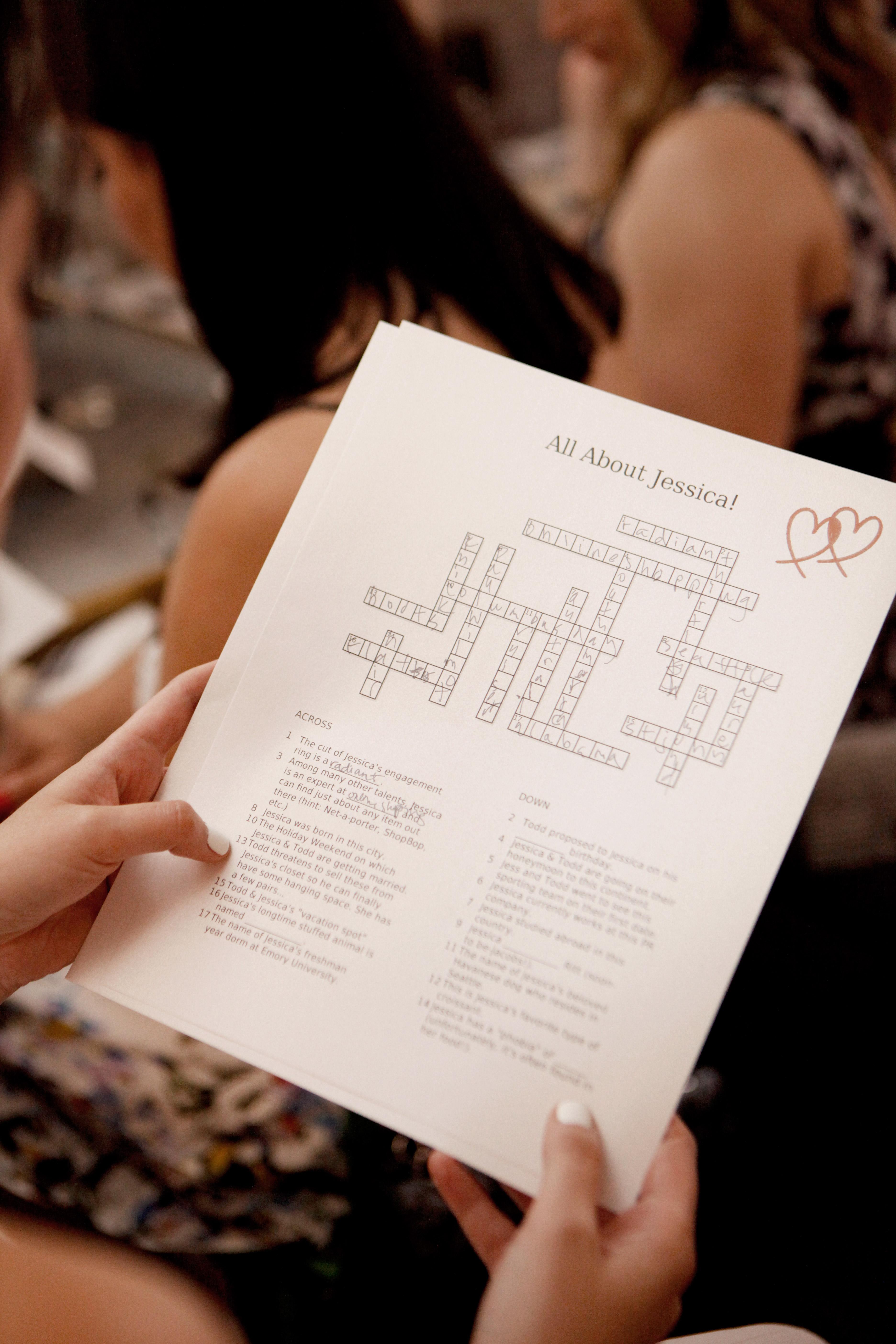 bridal shower crossword