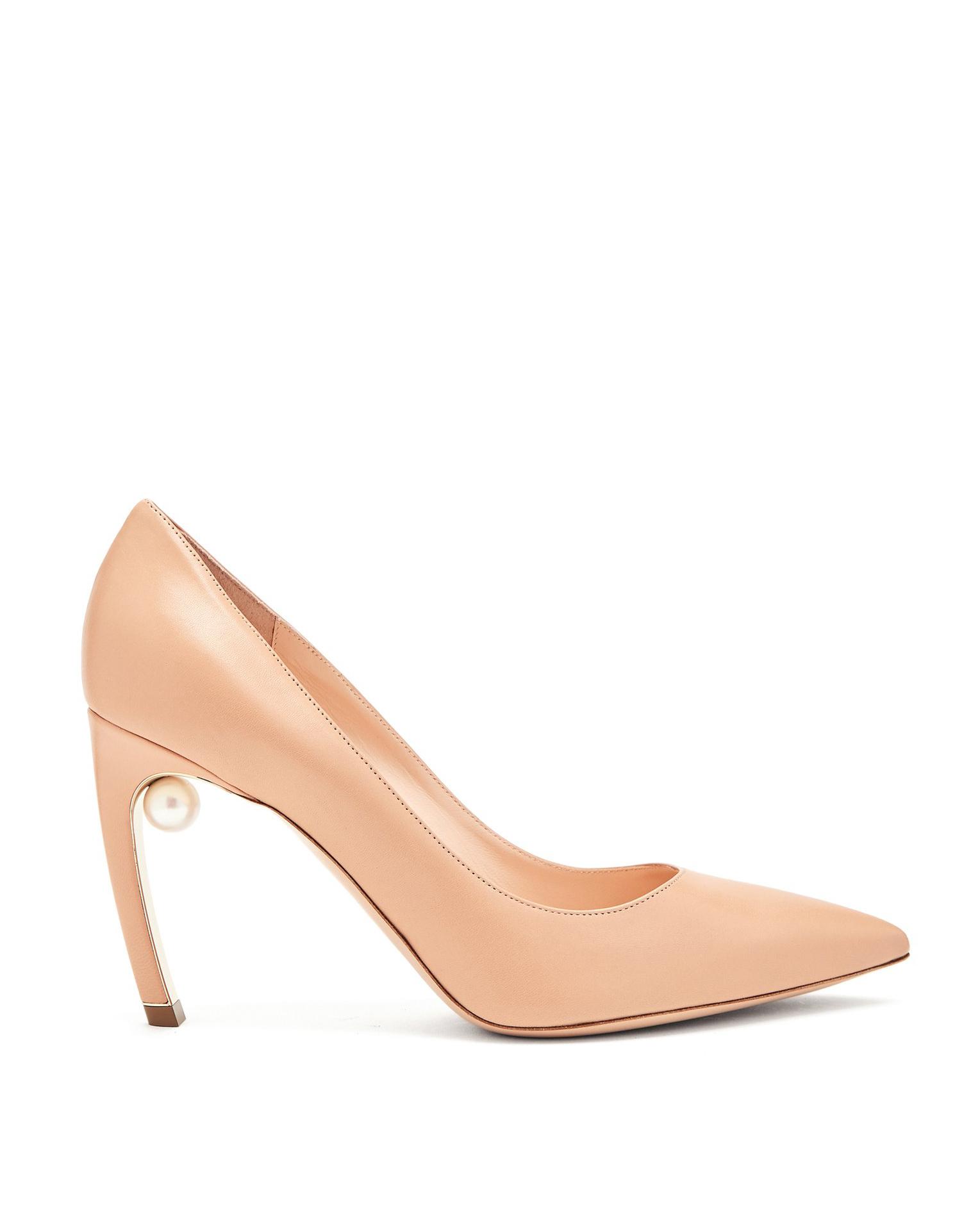 nude shoe high heel single pearl tan pumps
