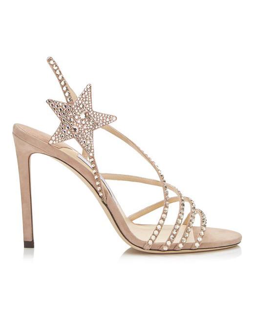 nude shoe crystal star sandal heels