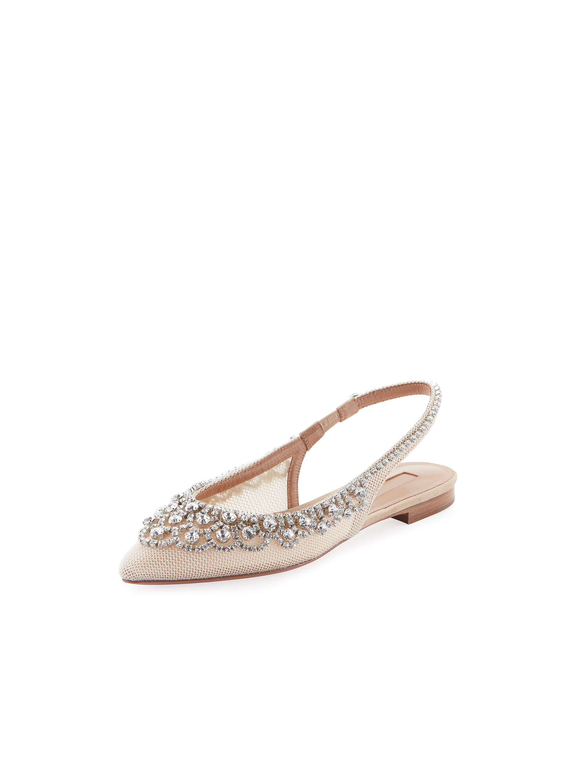 nude shoe diamonds ballet flats