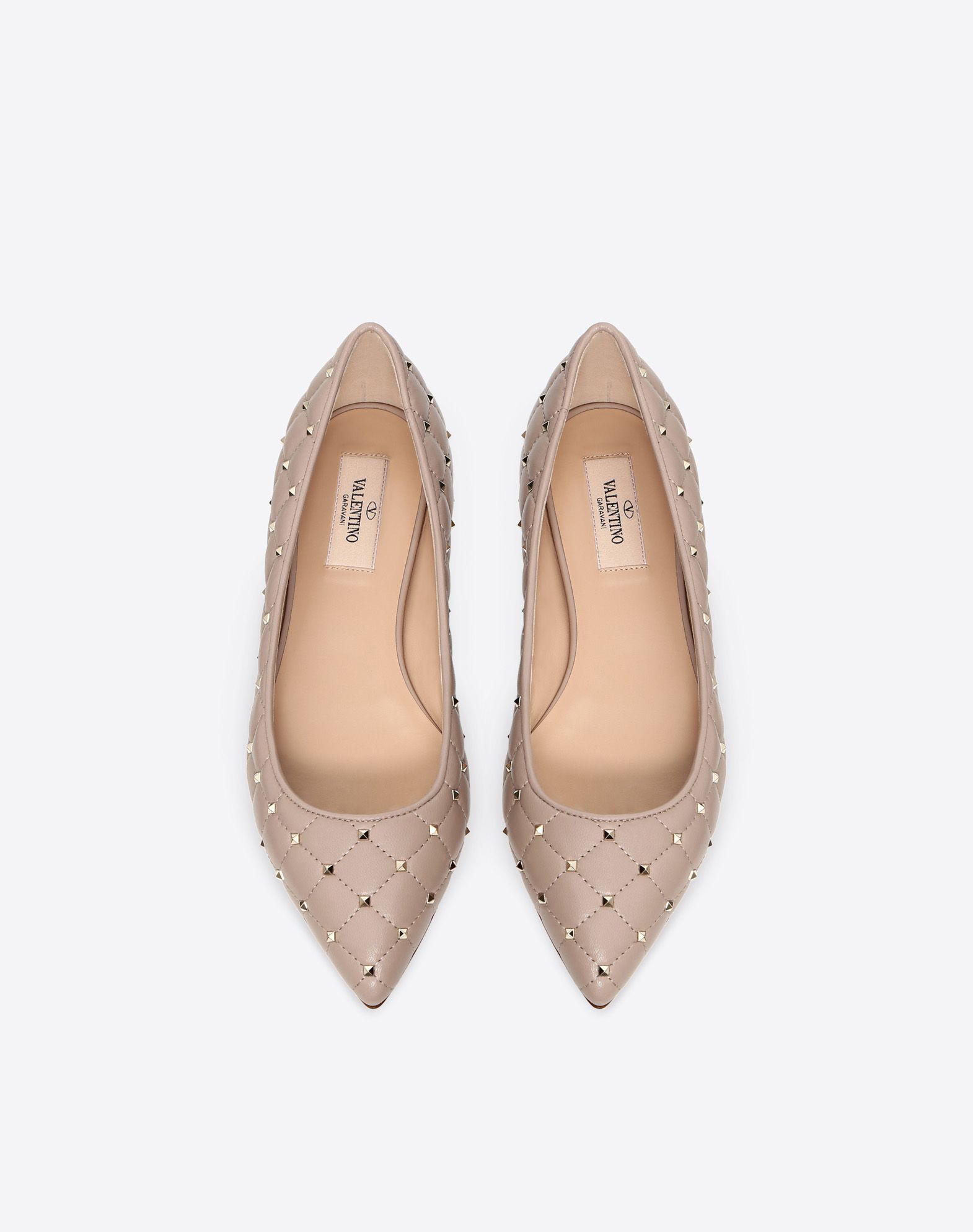 nude shoes spike ballet flats