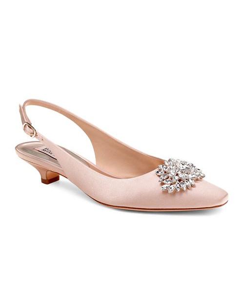 nude shoe embellished satin slingback heels