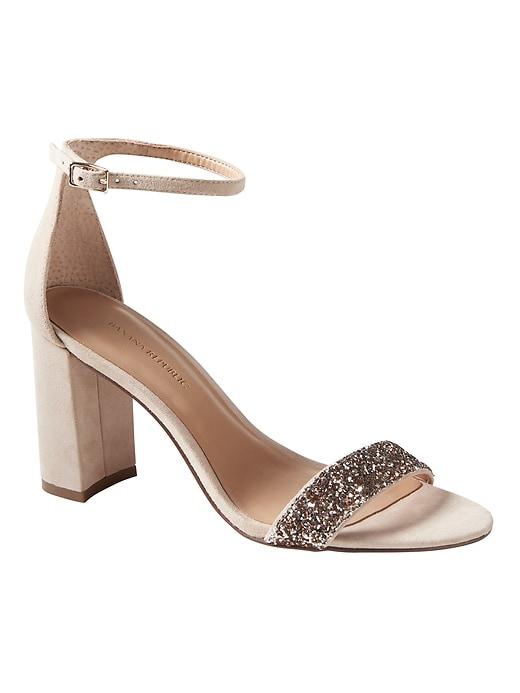 nude shoe bare high block glitter heels