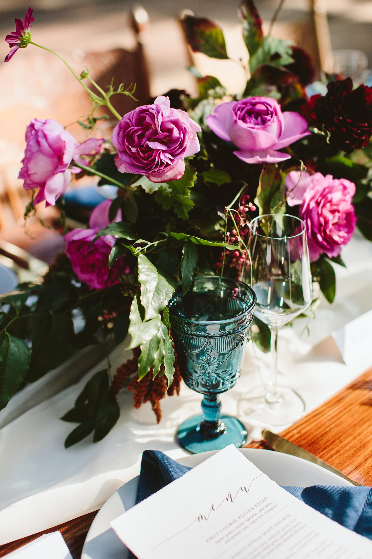centerpiece with purple garden roses