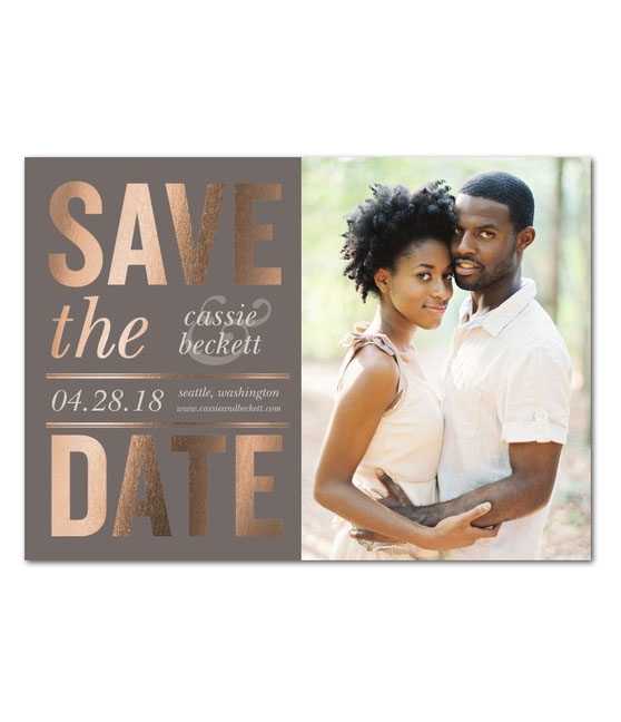 rose gold foil-stamped save the dates