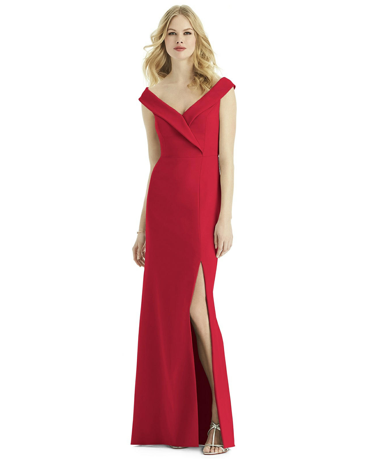 floor length Crepe Dress in Flame red