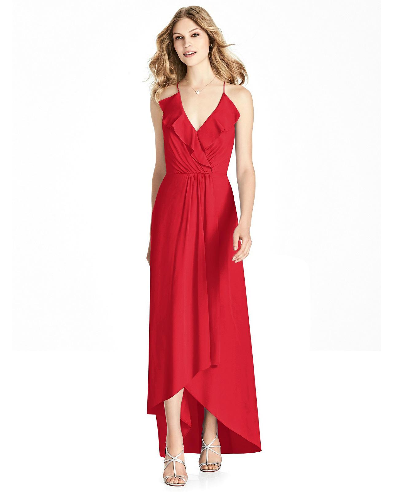 high low Chiffon Dress in Parisian Red
