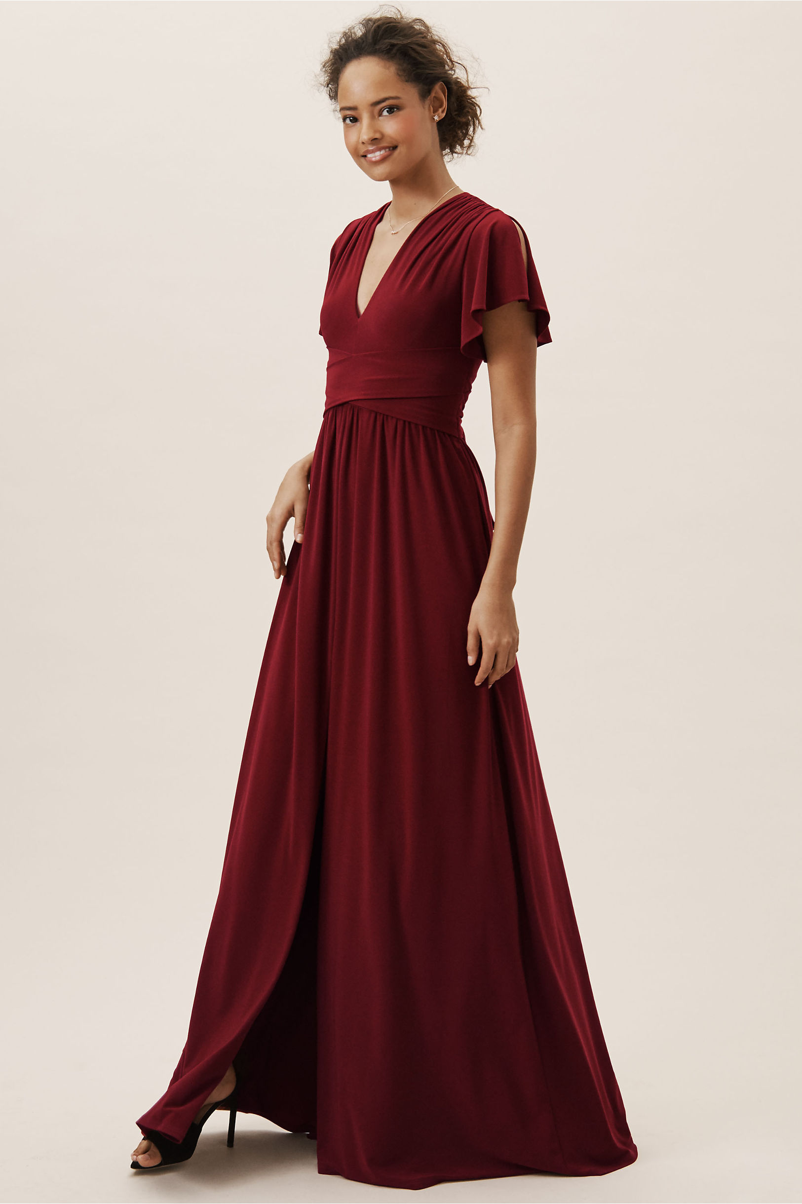 BHLDN Red Mendoza Bridesmaids Dress with Short Sleeves